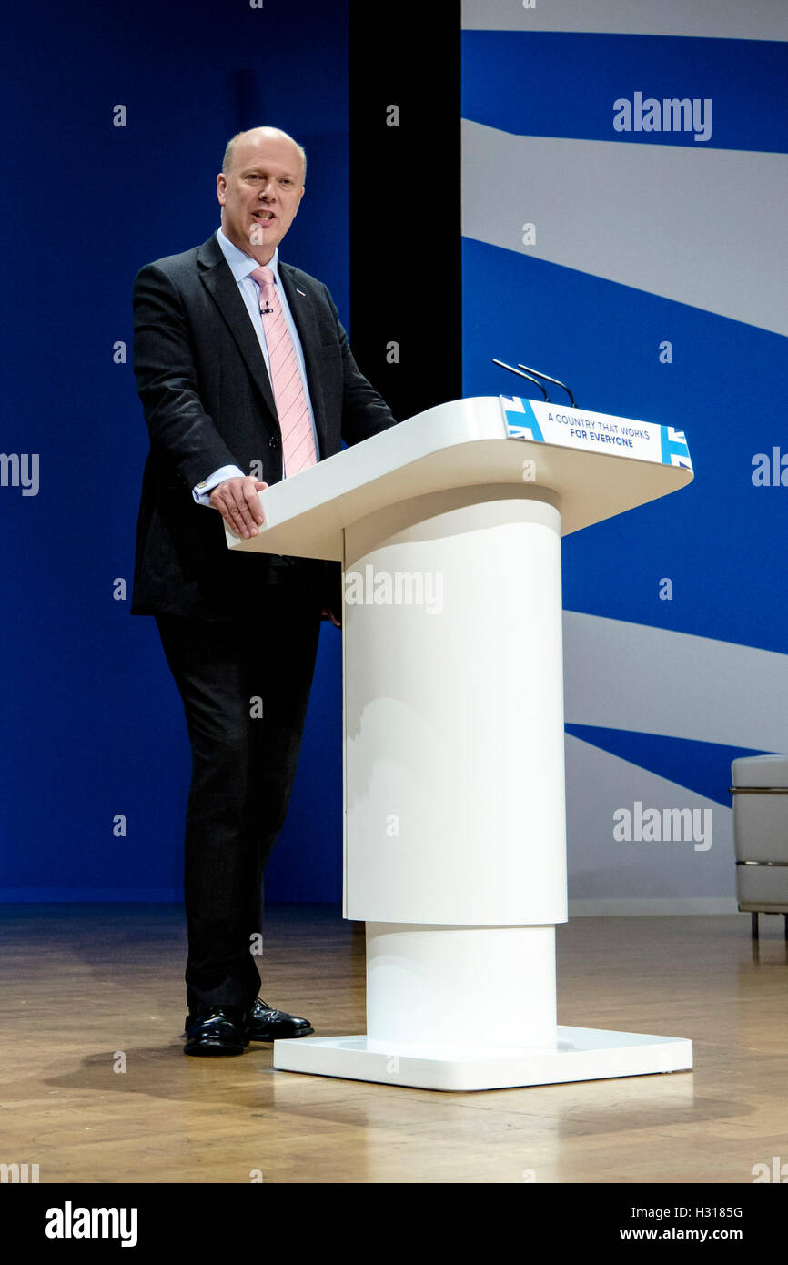 Conservative Party Conference day 2 on 03/10/2016 at Birmingham ICC, Birmingham. Persons pictured: Chris Grayling, - Stock Image