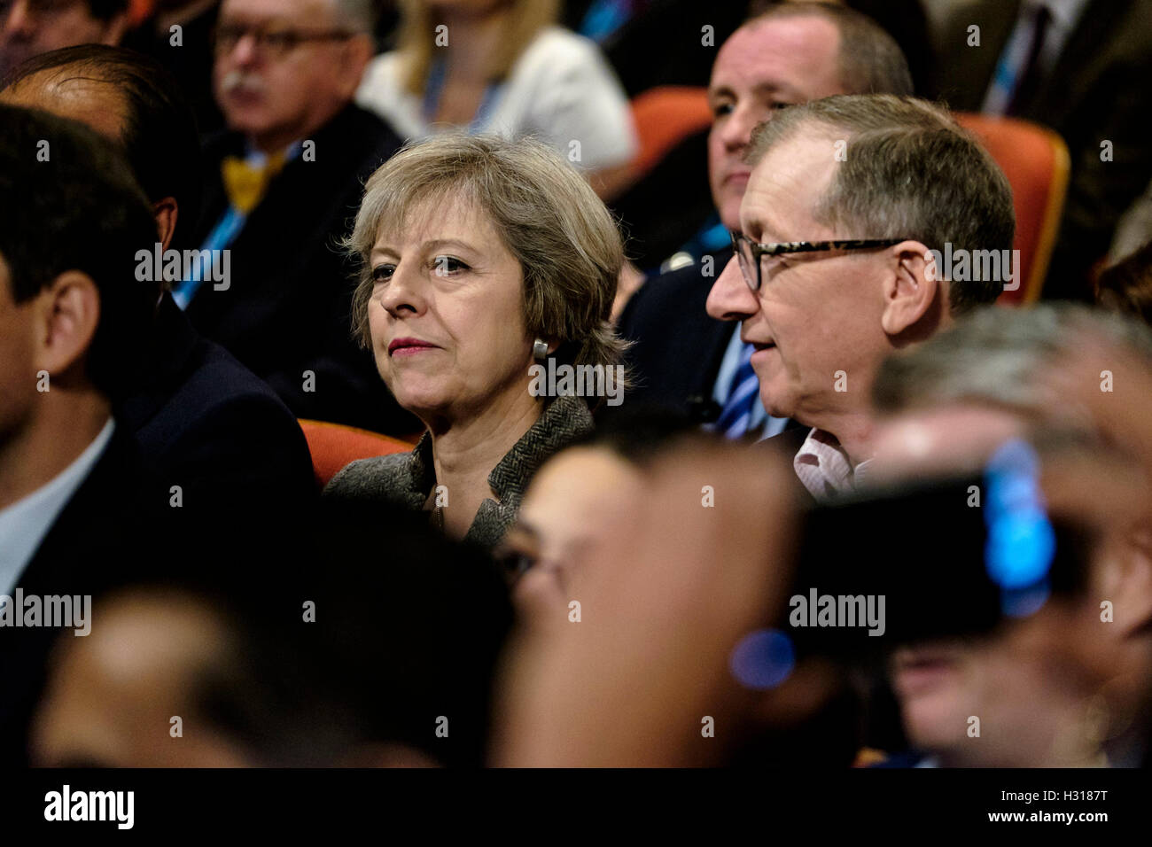 Conservative Party Conference day 2 on 03/10/2016 at Birmingham ICC, Birmingham. Persons pictured: Theresa May, - Stock Image