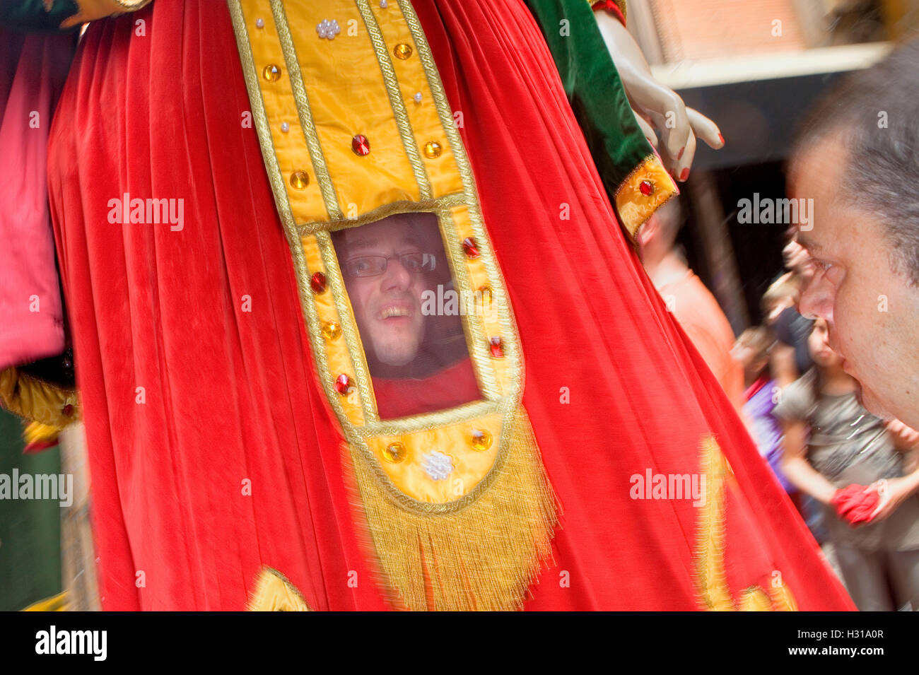 Parade.Carrier of giant.La Patum (Masterpiece of Oral and Intangible Heritage by UNESCO).Berga. Barcelona. Catalonia. - Stock Image