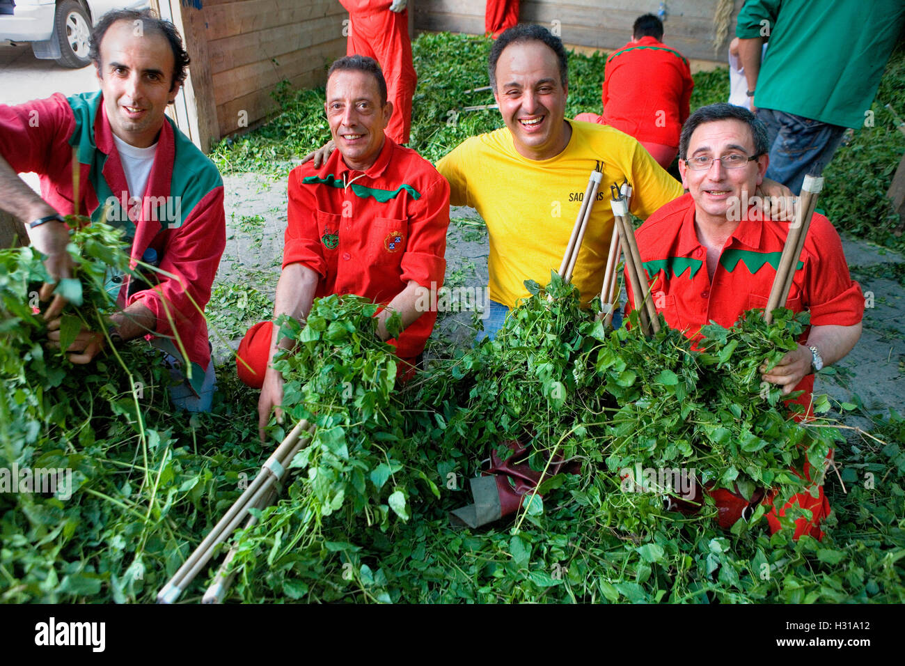Preparing the masks for the `Plens´.La Patum (Masterpiece of Oral and Intangible Heritage by UNESCO).Berga. - Stock Image