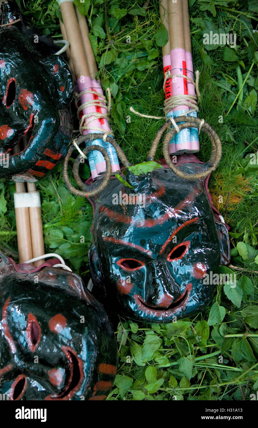 Masks for the `Plens´.La Patum (Masterpiece of Oral and Intangible Heritage by UNESCO).Berga. Barcelona. Catalonia. - Stock Image