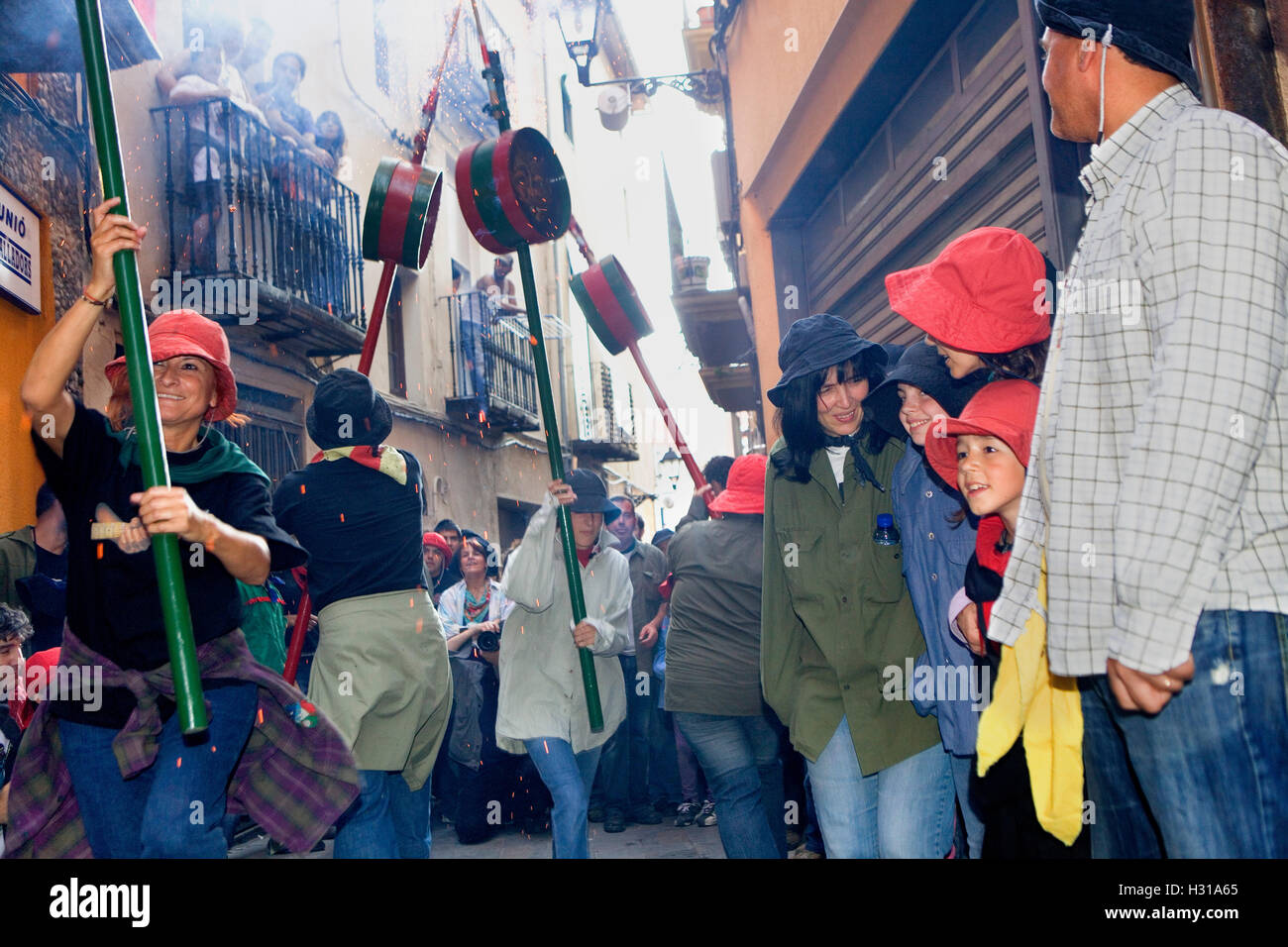Parade.`Maces´(mazas).La Patum (Masterpiece of Oral and Intangible Heritage by UNESCO).Berga. Barcelona. Catalonia. Stock Photo