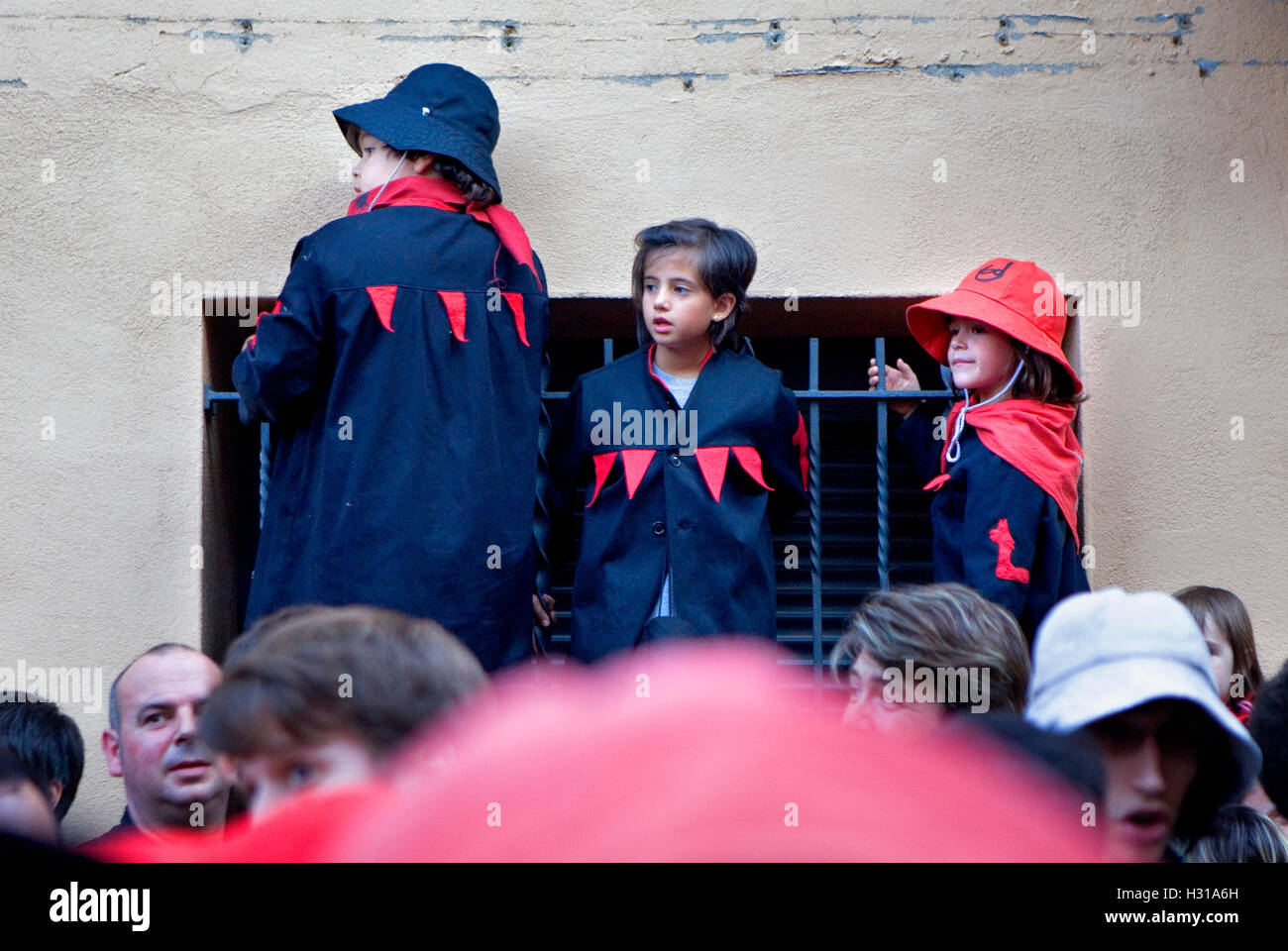Parade.young viewers. La Patum (Masterpiece of Oral and Intangible Heritage by UNESCO).Berga. Barcelona. Catalonia. - Stock Image