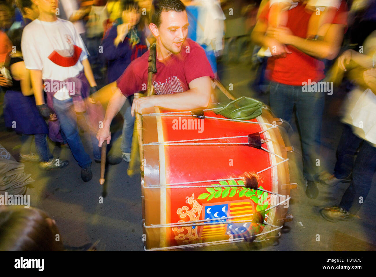 Parade.`Tabaler´ (drummer).La Patum (Masterpiece of Oral and Intangible Heritage by UNESCO).Berga. Barcelona. - Stock Image