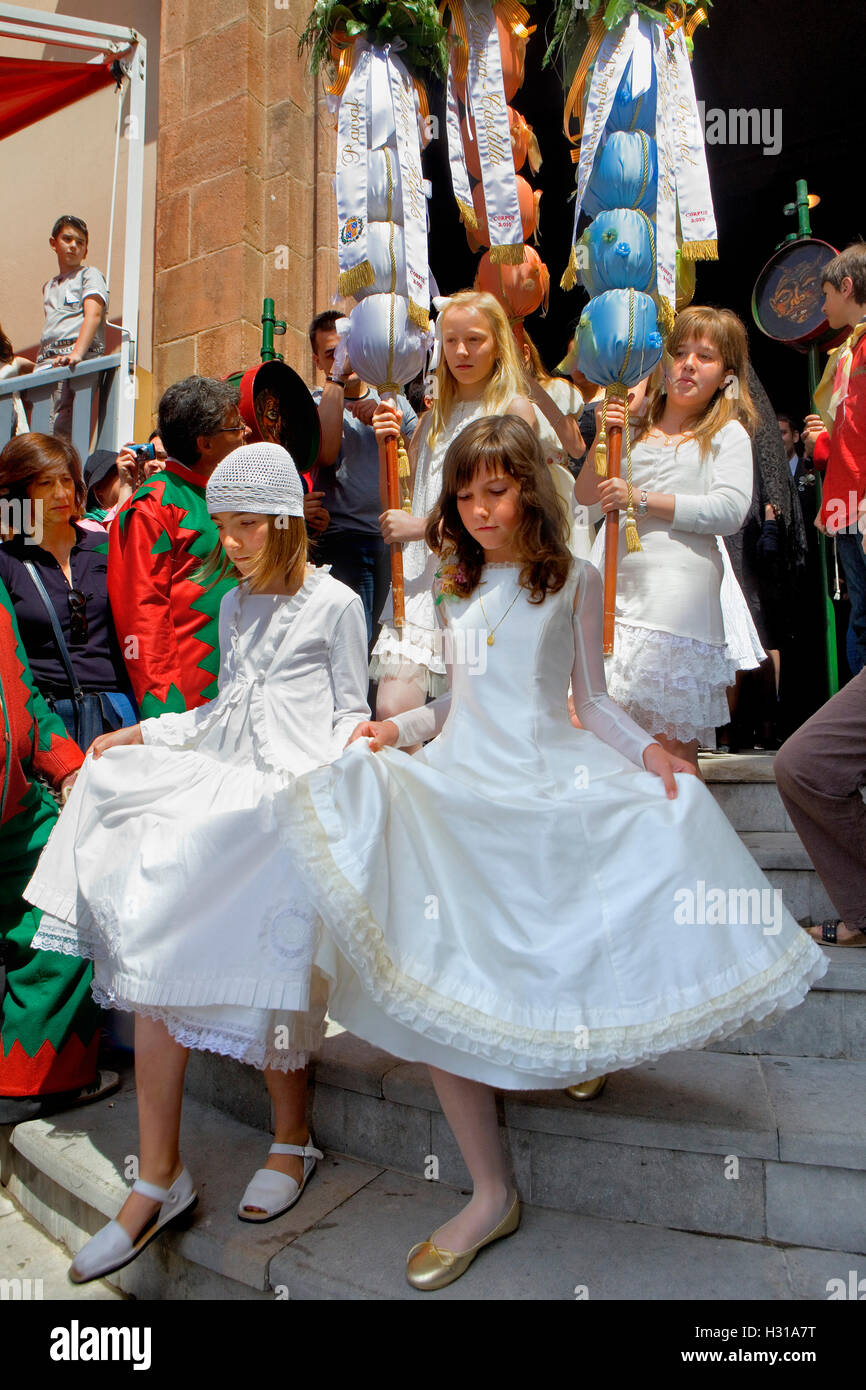 Babes of communion.La Patum (Masterpiece of Oral and Intangible Heritage by UNESCO).Berga. Barcelona. Catalonia. - Stock Image