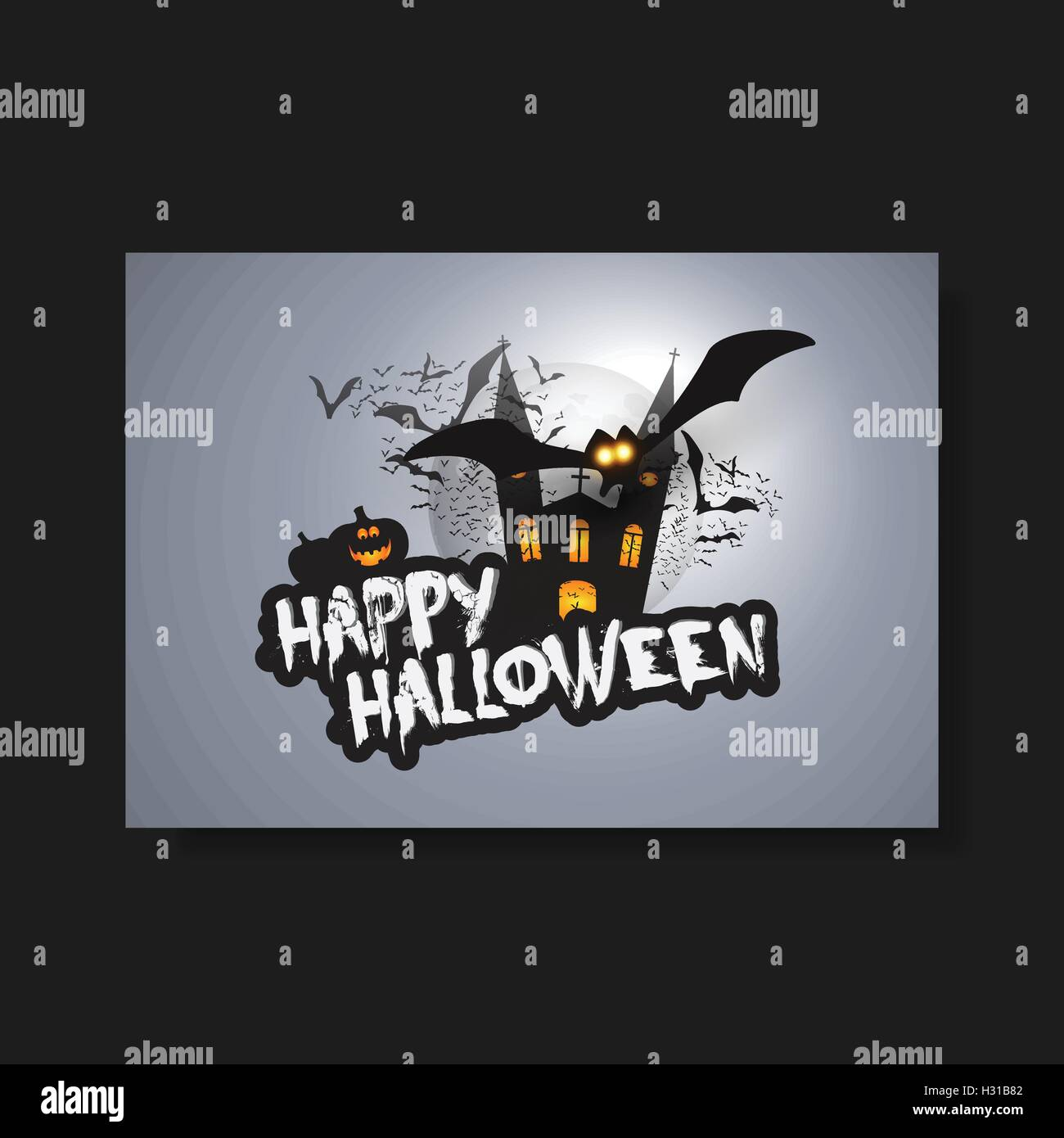 happy halloween card flyer or cover template flying bats over a