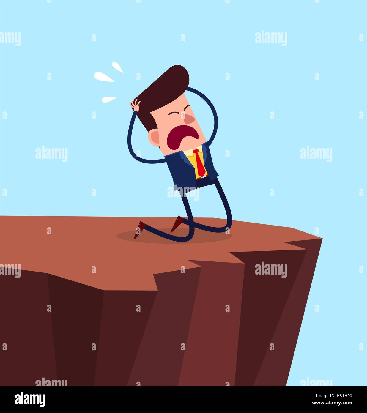 desperate businessman kneeling in the cliff - Stock Vector