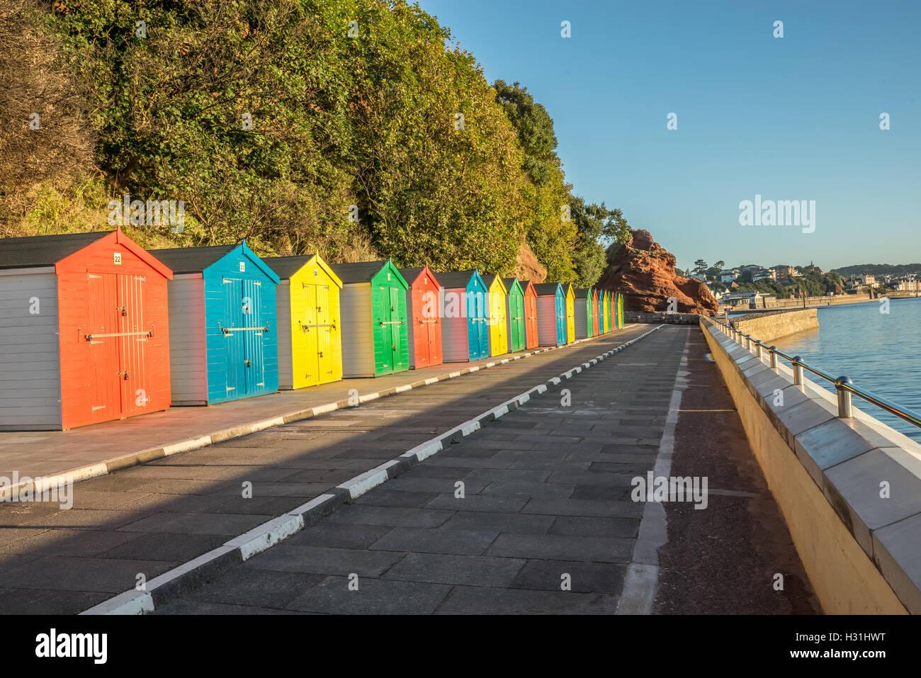 Colorful beach huts In Dawlish Devon - Stock Image