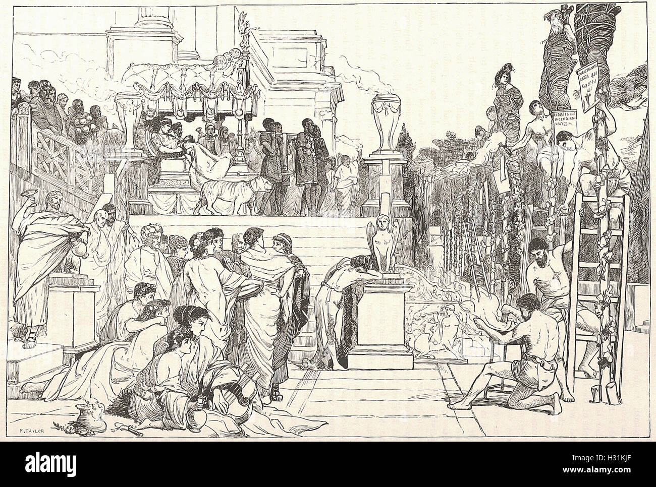 NERO'S TORCHES BURNING OF CHRISTIANS AT ROME. - from 'Cassell's Illustrated Universal History' - 1882 Stock Photo