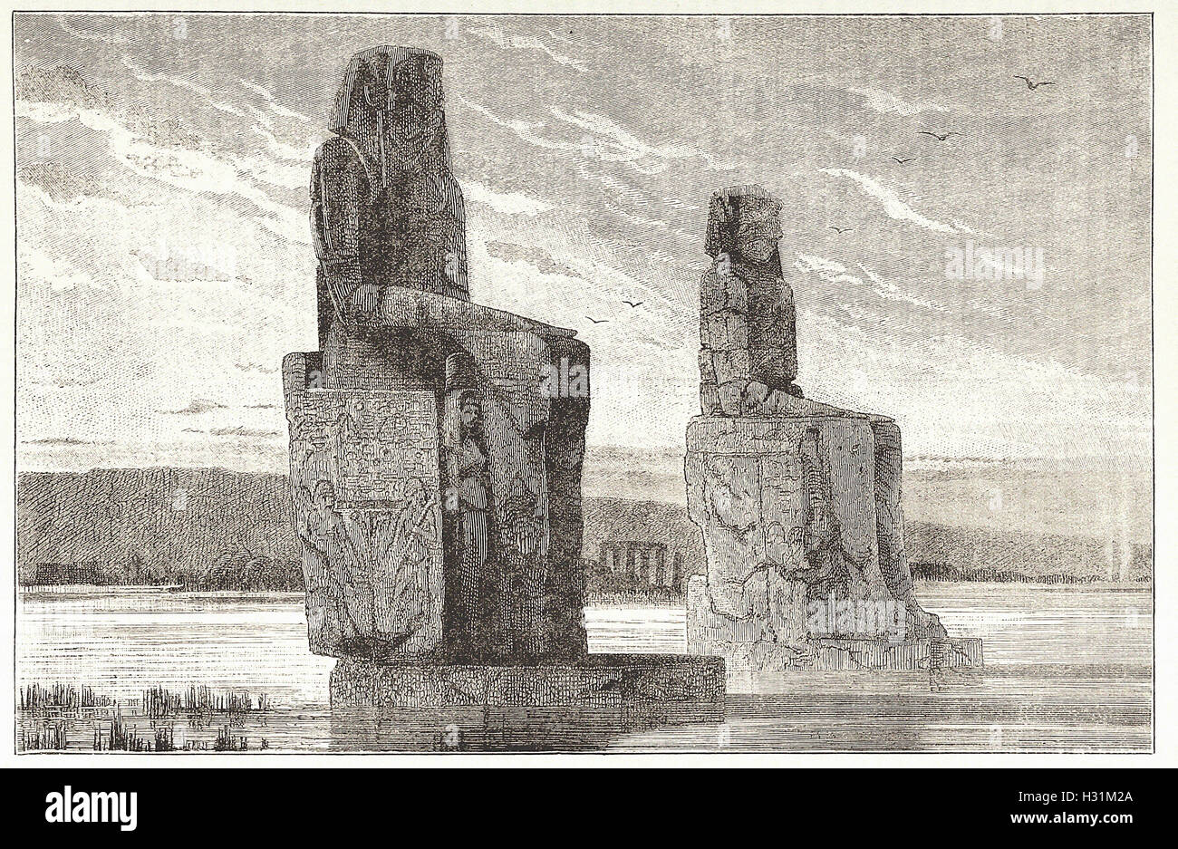 COLOSSAL STATUES AT THEBES - from 'Cassell's Illustrated Universal History' - 1882 - Stock Image