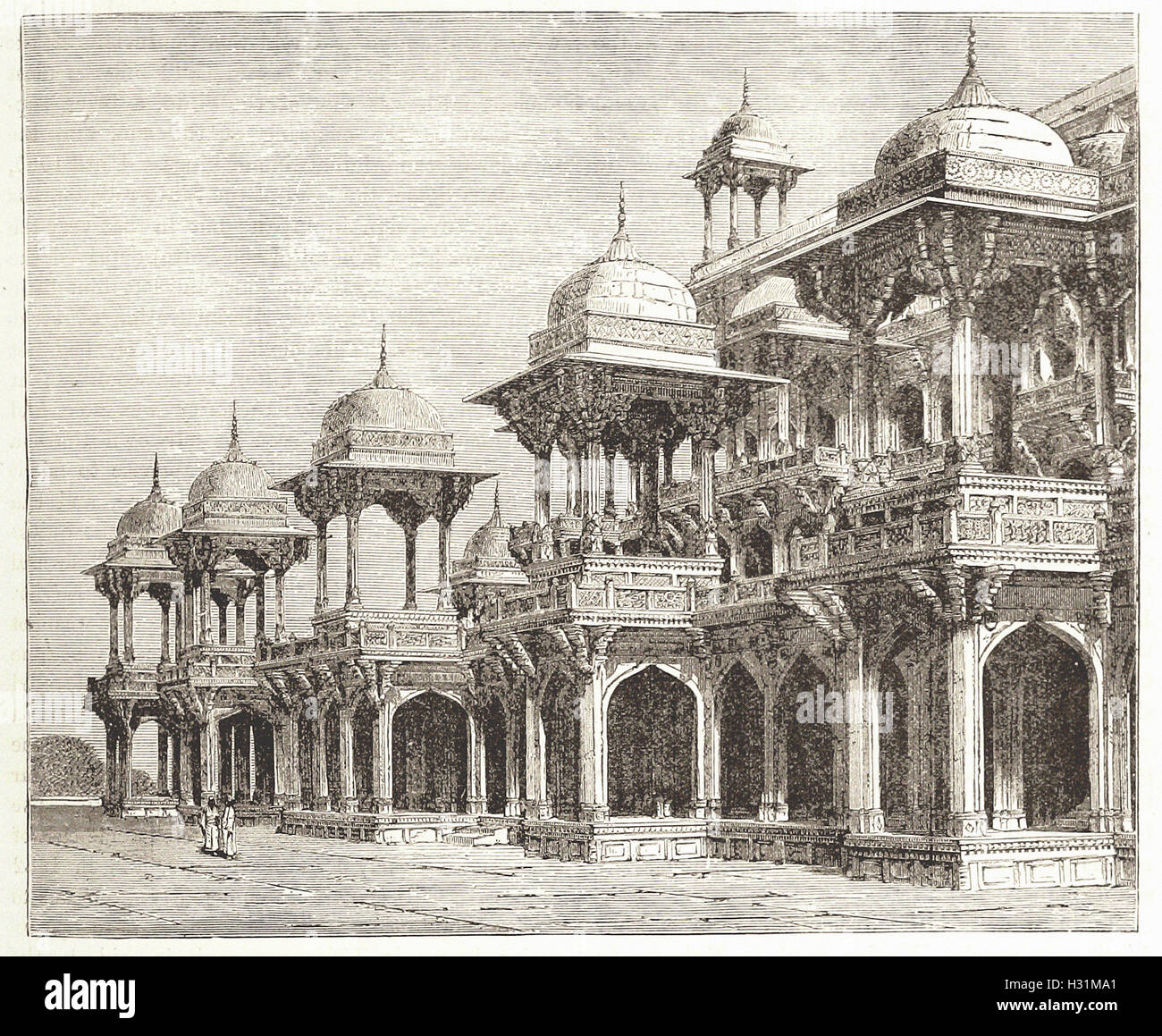 MAUSOLEUM OF AKBAR SECUNDRA - from 'Cassell's Illustrated Universal History' - 1882 - Stock Image