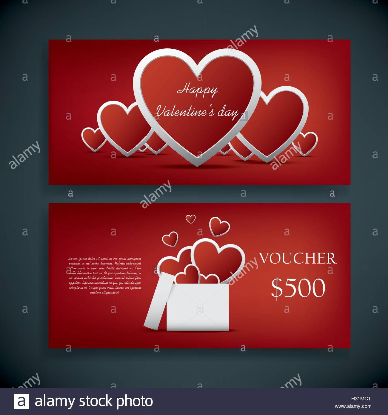 Valentine S Day Gift Card Voucher Template With Traditional Stock