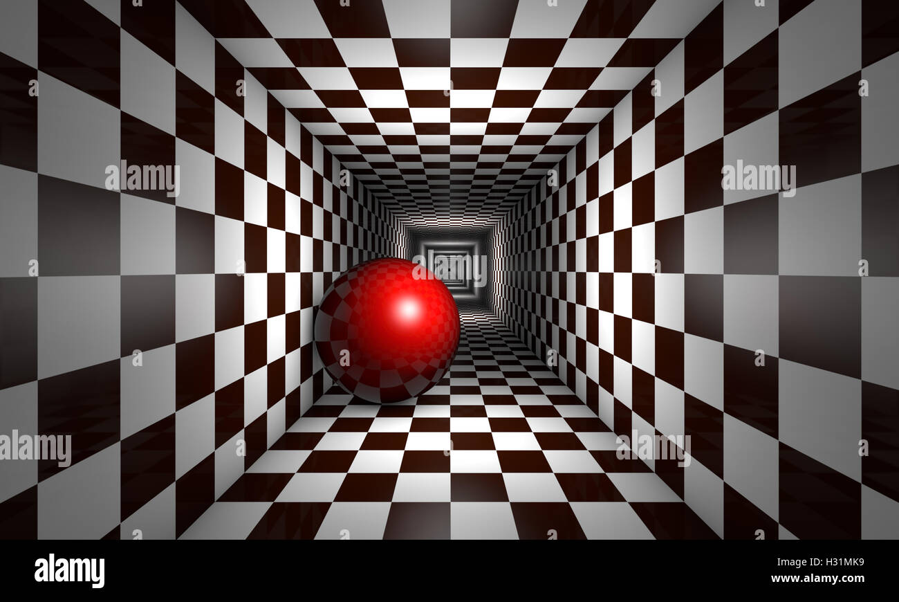 Red ball in the chess tunnel. The space and infinity. Available in high-resolution and several sizes. 3D illustration - Stock Image