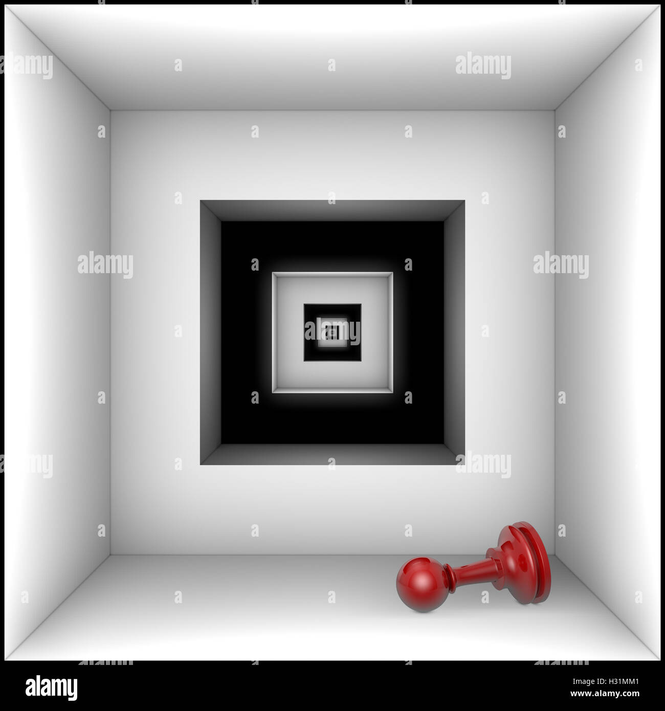 Red pawn in black and white tunnel. The space and infinity. 3D illustration rendering. - Stock Image