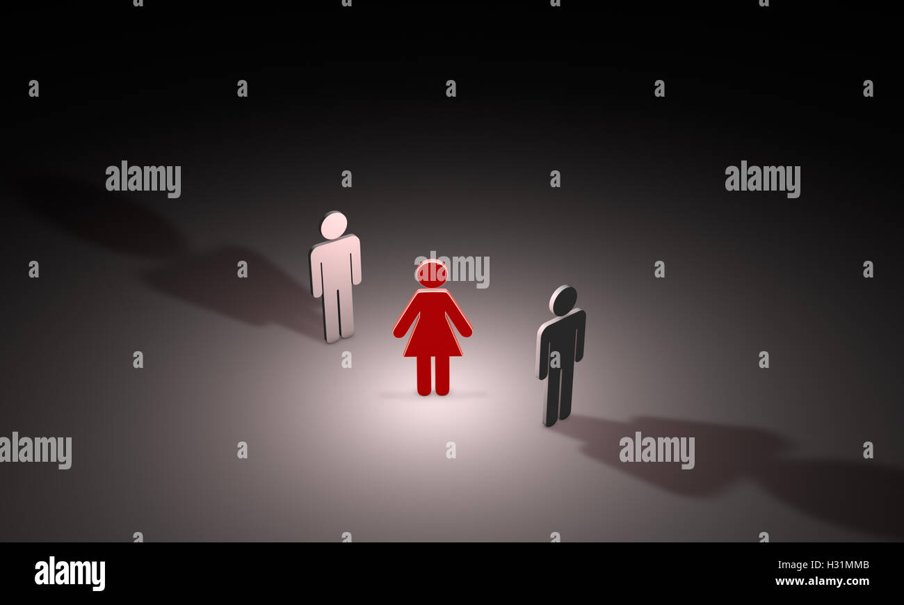 Figures of people. Black background layout with free text space.3D illustration render. - Stock Image