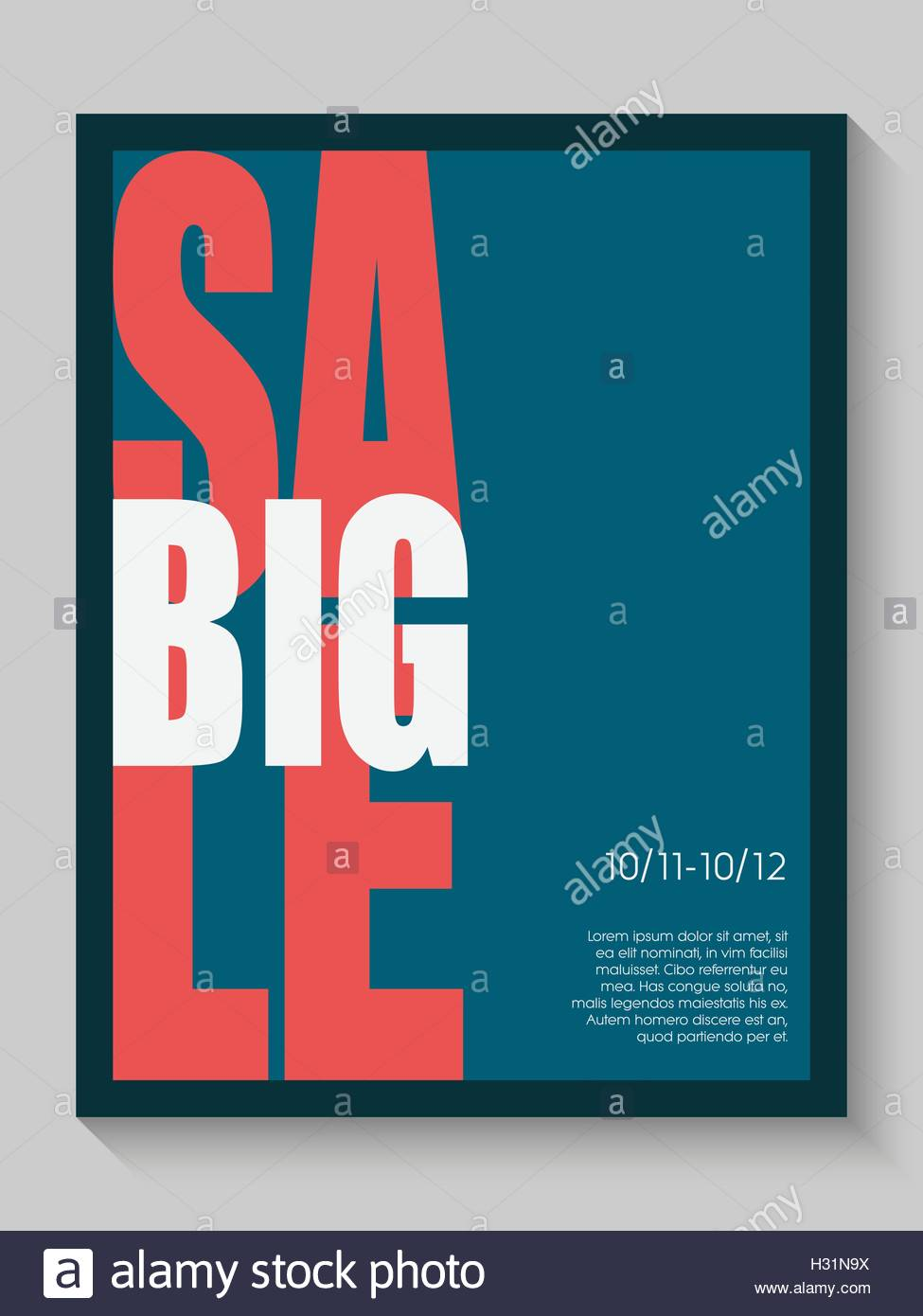 Big sale poster. Advertising banner with creative typography. Simple elegant graphic design. - Stock Image