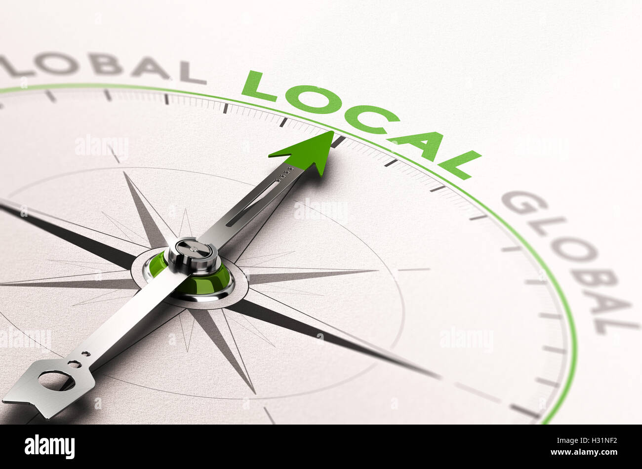 3D illustration of a compass with needle pointing the word local business. Concept of an ethical economy - Stock Image