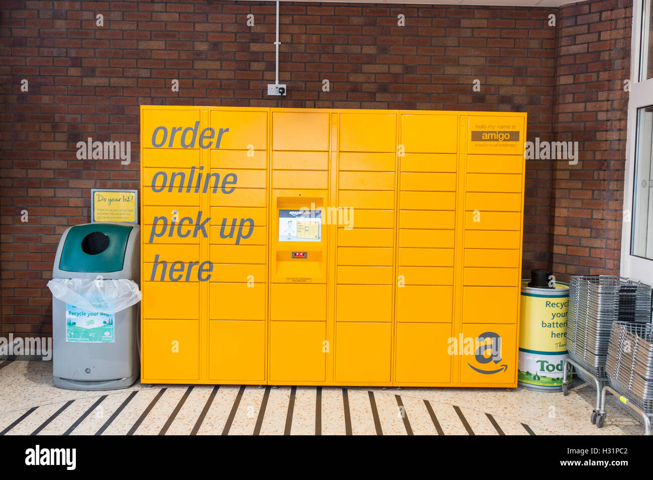 Amazon order online pick up lockers in a Morrisons store - Stock Image