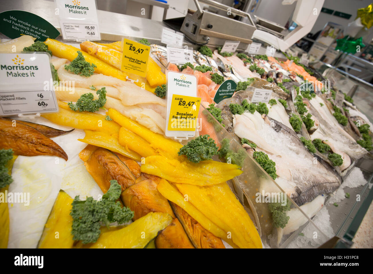 Fish counter in a Morrisons supermarket - Stock Image