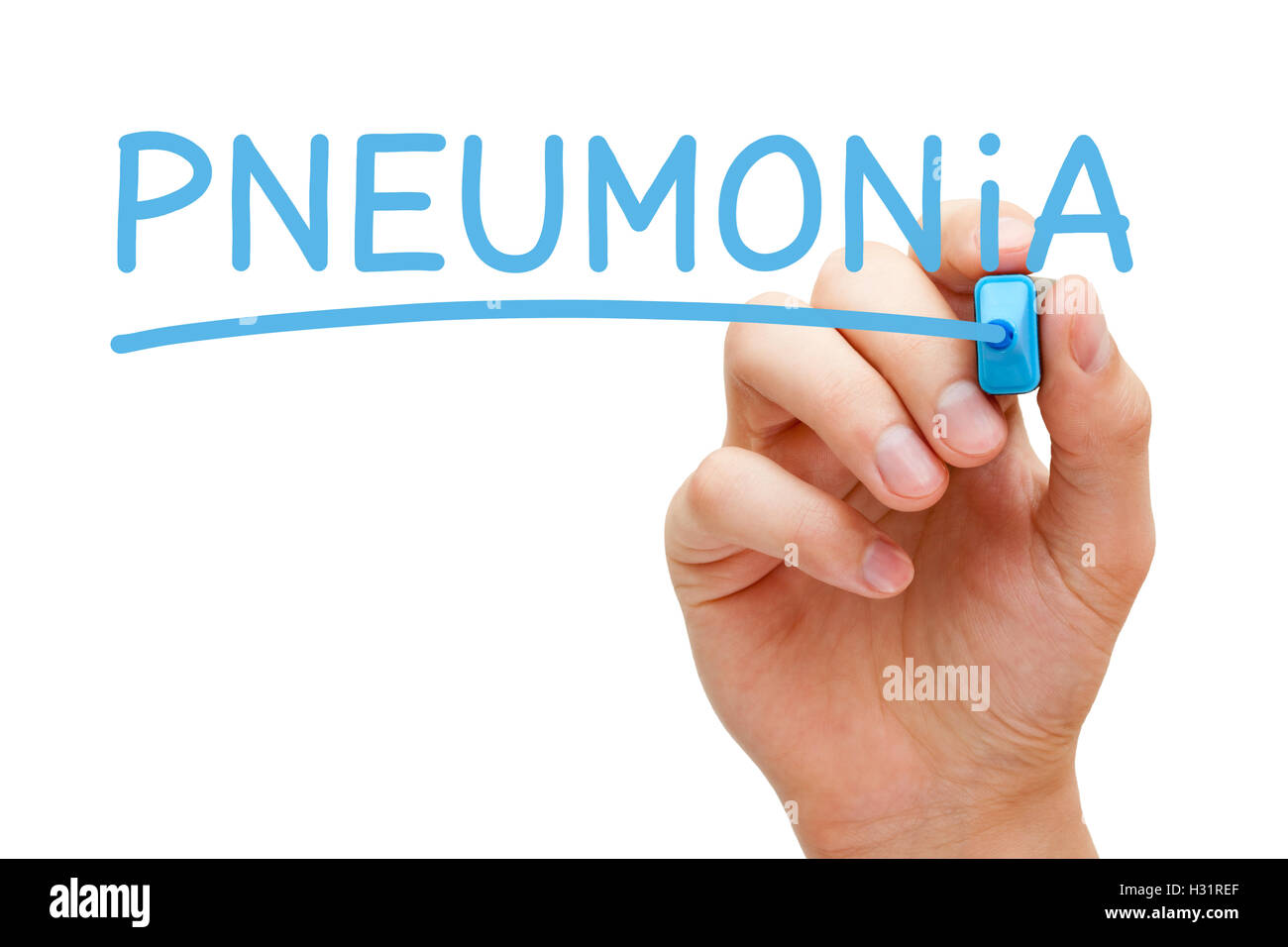 Hand writing Pneumonia with blue marker on transparent wipe board. - Stock Image