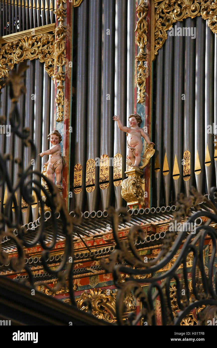 Organ of the Gospel in the New Cathedral of Salamanca, Spain, created by Pedro de Echevarria in 1744. - Stock Image
