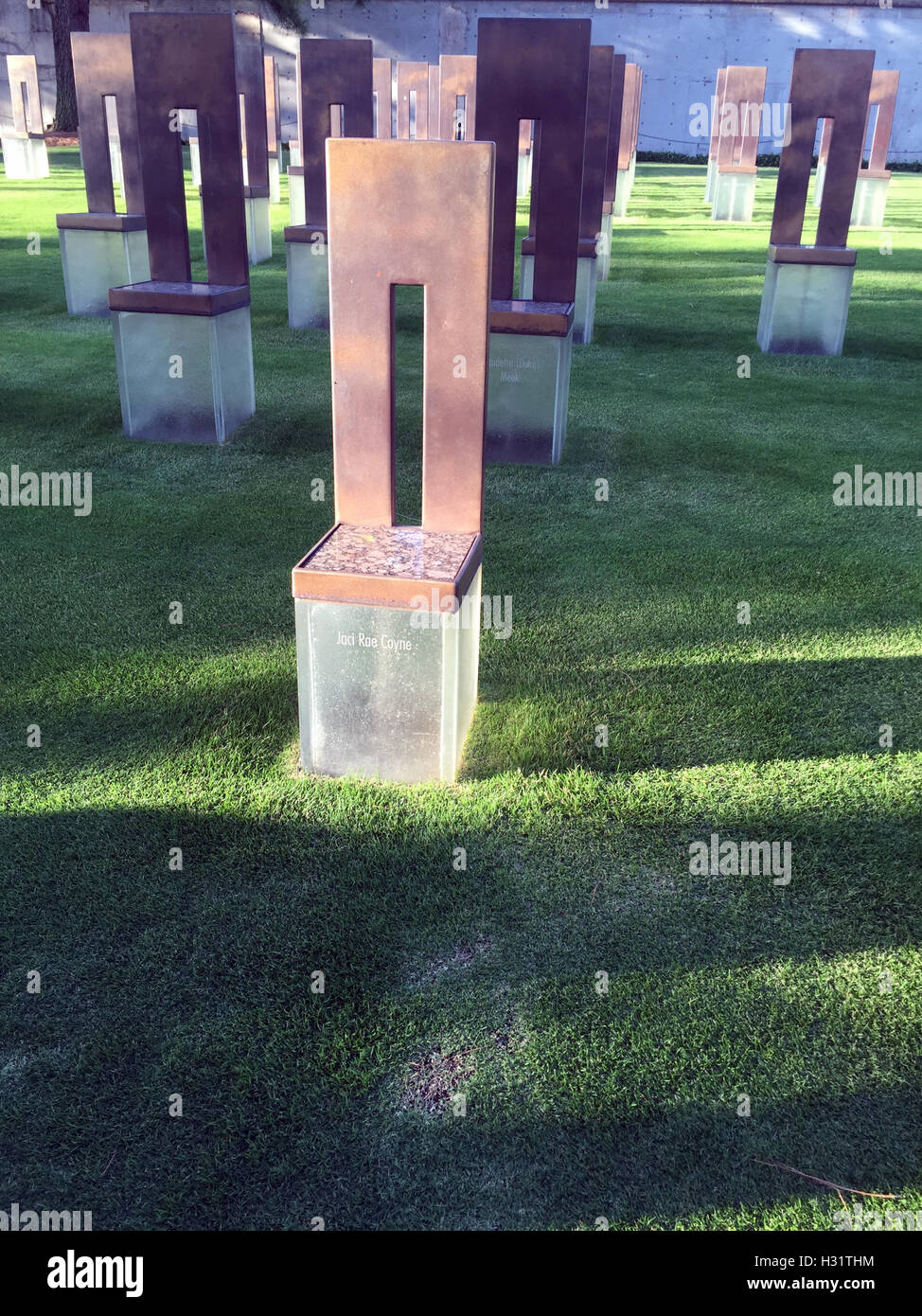 Symbolic Office Chair at the Oklahoma City Bombing Memorial Stock Photo