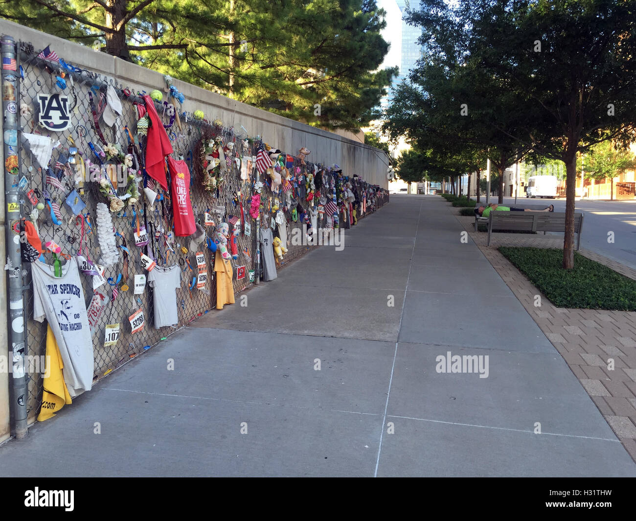 Fence adorned with personal mementos at the Oklahoma City Bombing Memorial - Stock Image