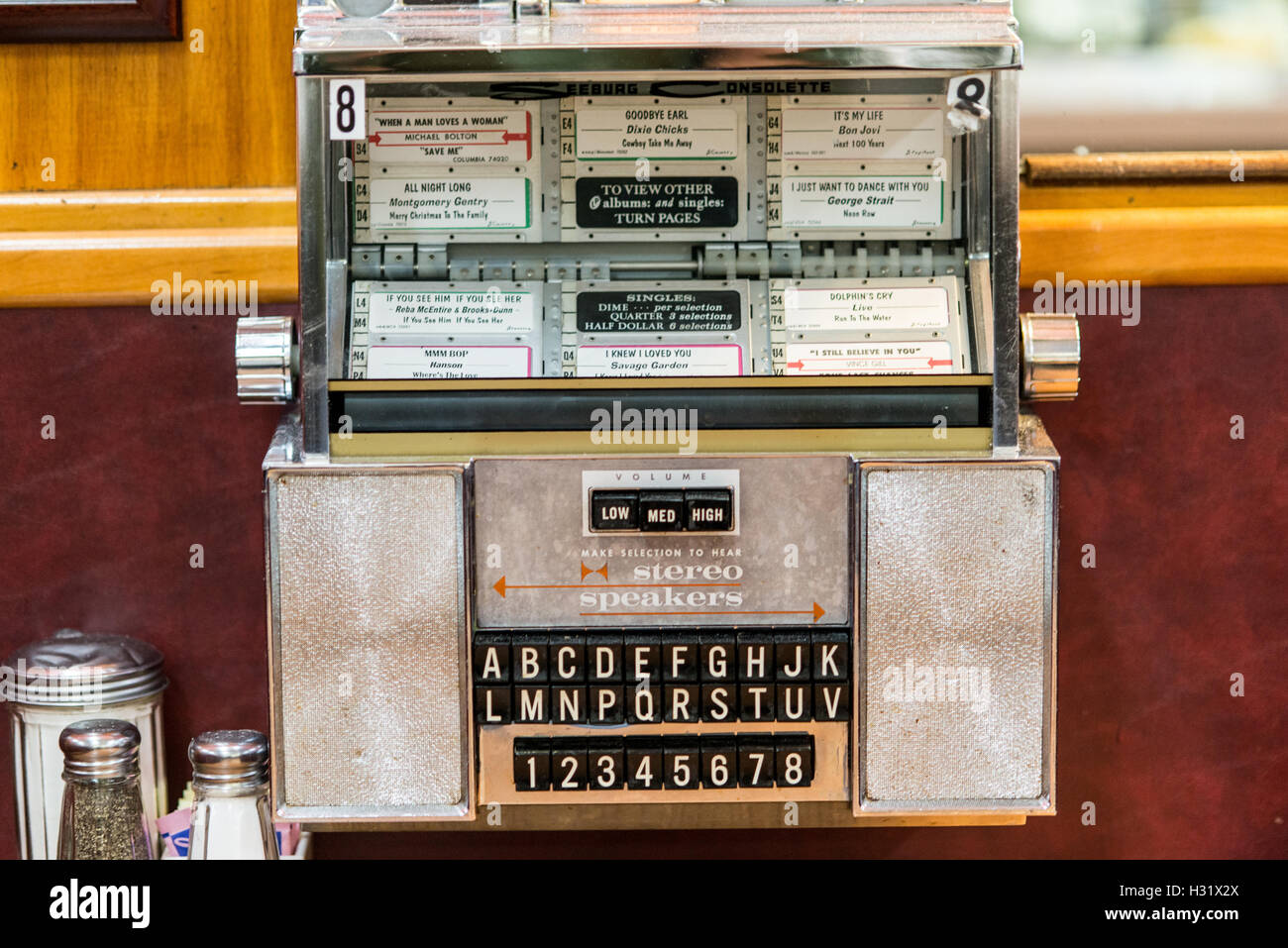 Jukebox at a diner in Maryland - Stock Image