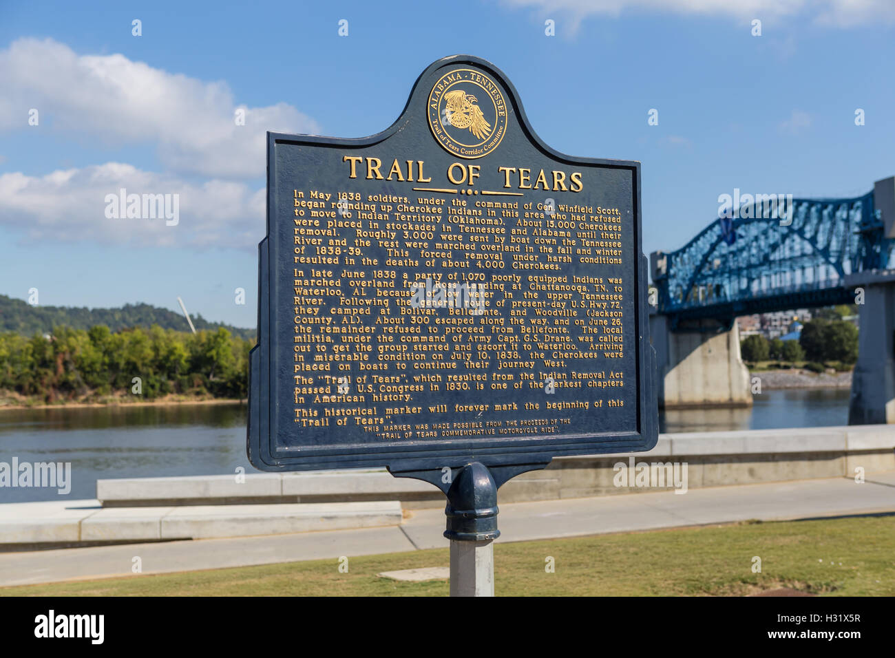 A historical marker designates the beginning of the Trail of Tears at Ross's Landing in Chattanooga, Tennessee. - Stock Image