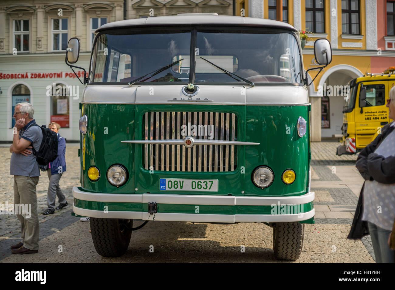 Old Skoda truck Liberec Old Market town Reichenberg - Stock Image