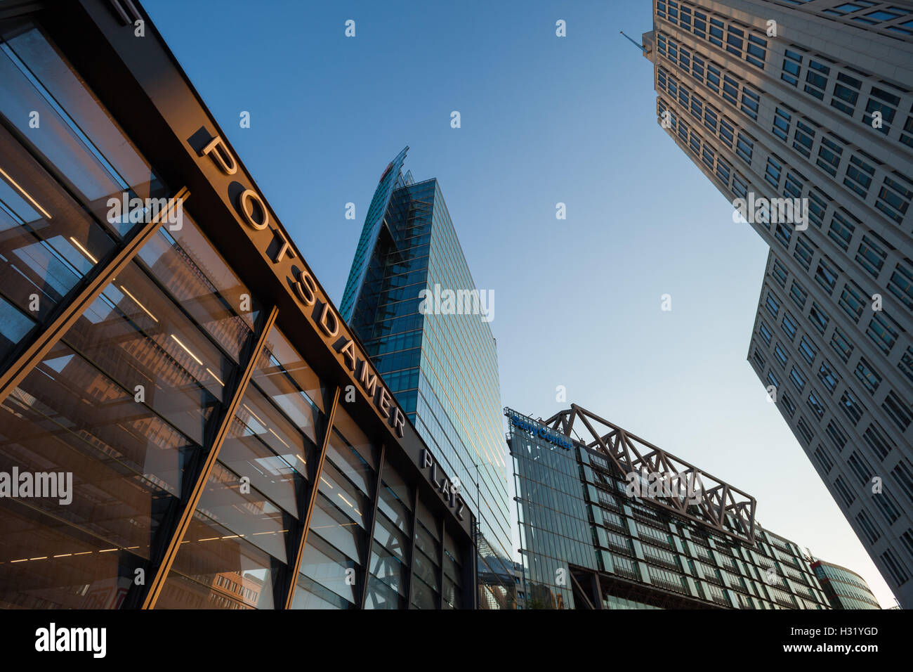 BERLIN - May 10: Station building and skyscrapers at Potsdamer Platz on May 10, 2016 in Berlin. Stock Photo