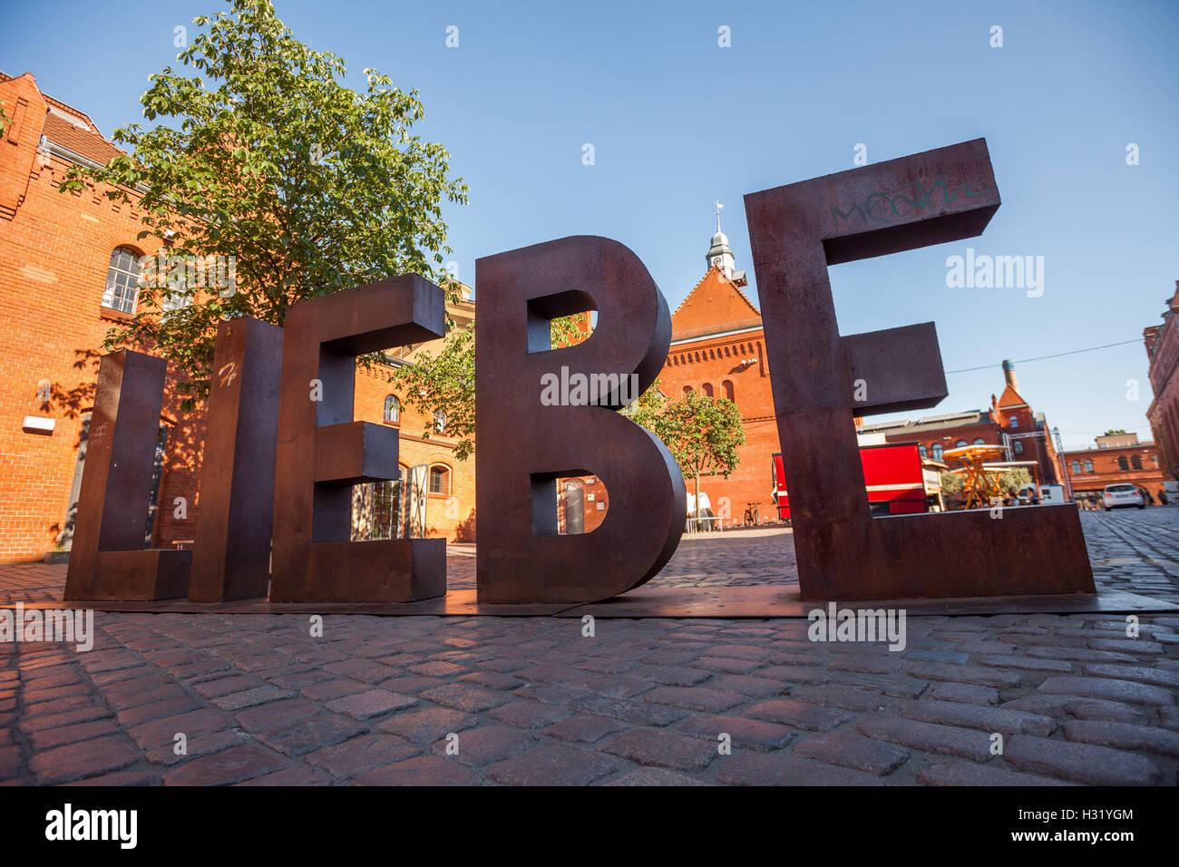 BERLIN - June 6: LIEBE ('Love') sign at the Kulturbrauerei on June 6, 2016 in Berlin. - Stock Image