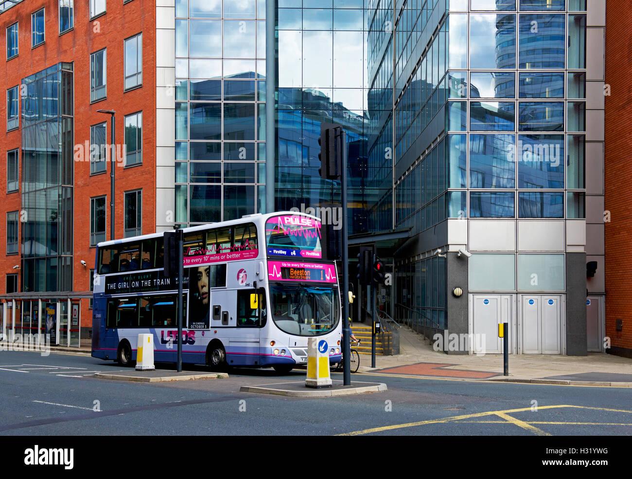 Double-decker bus on Neville Street, city centre, Leeds, West Yorkshire - Stock Image