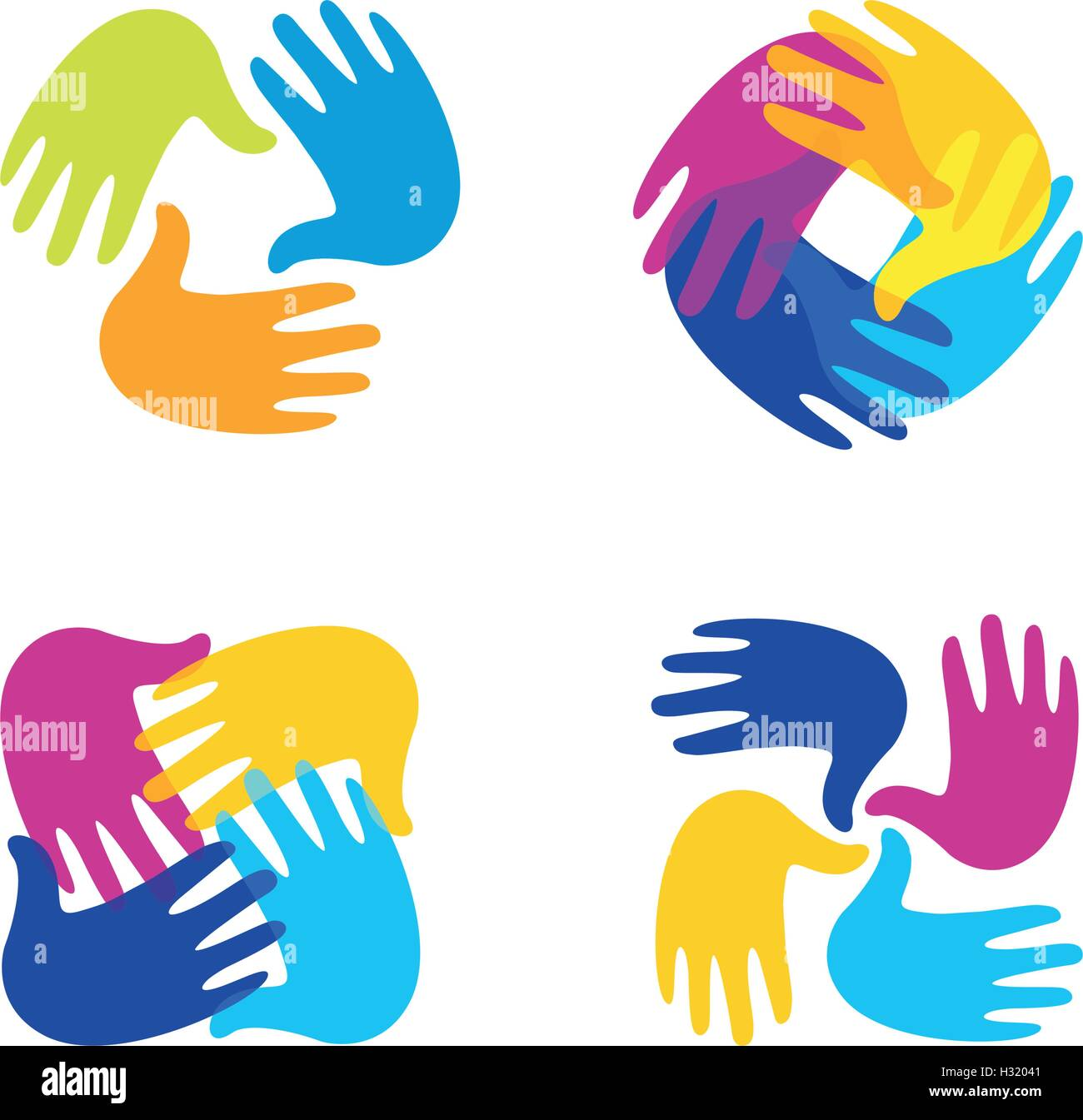 Isolated abstract colorful children hands together logo set. Kids ...