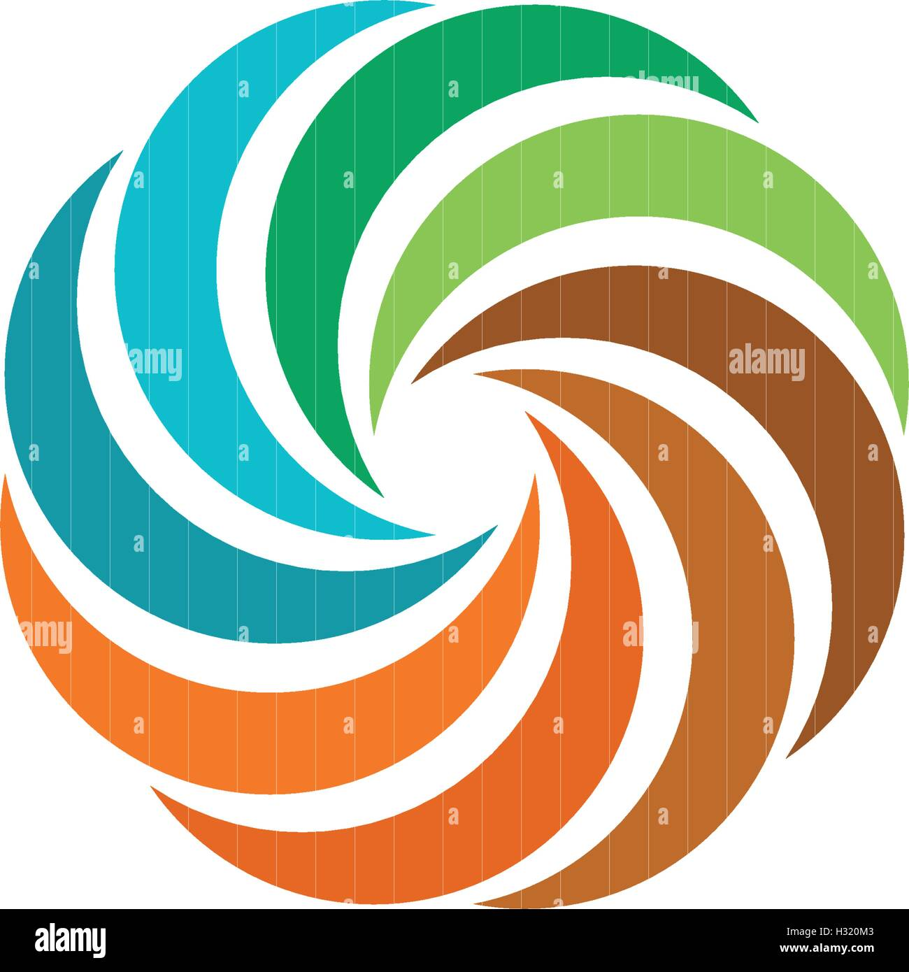 Isolated abstract colorful circular sun logo. Round shape rainbow logotype. Swirl, tornado and hurricane icon. Spining Stock Vector
