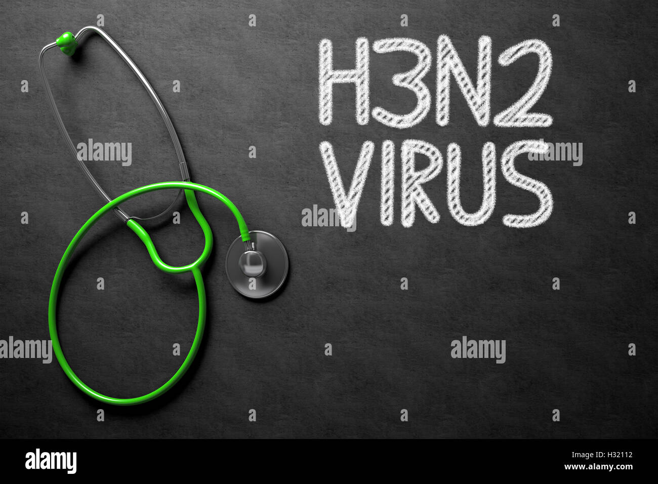 Chalkboard with H3N2. 3D Illustration. - Stock Image
