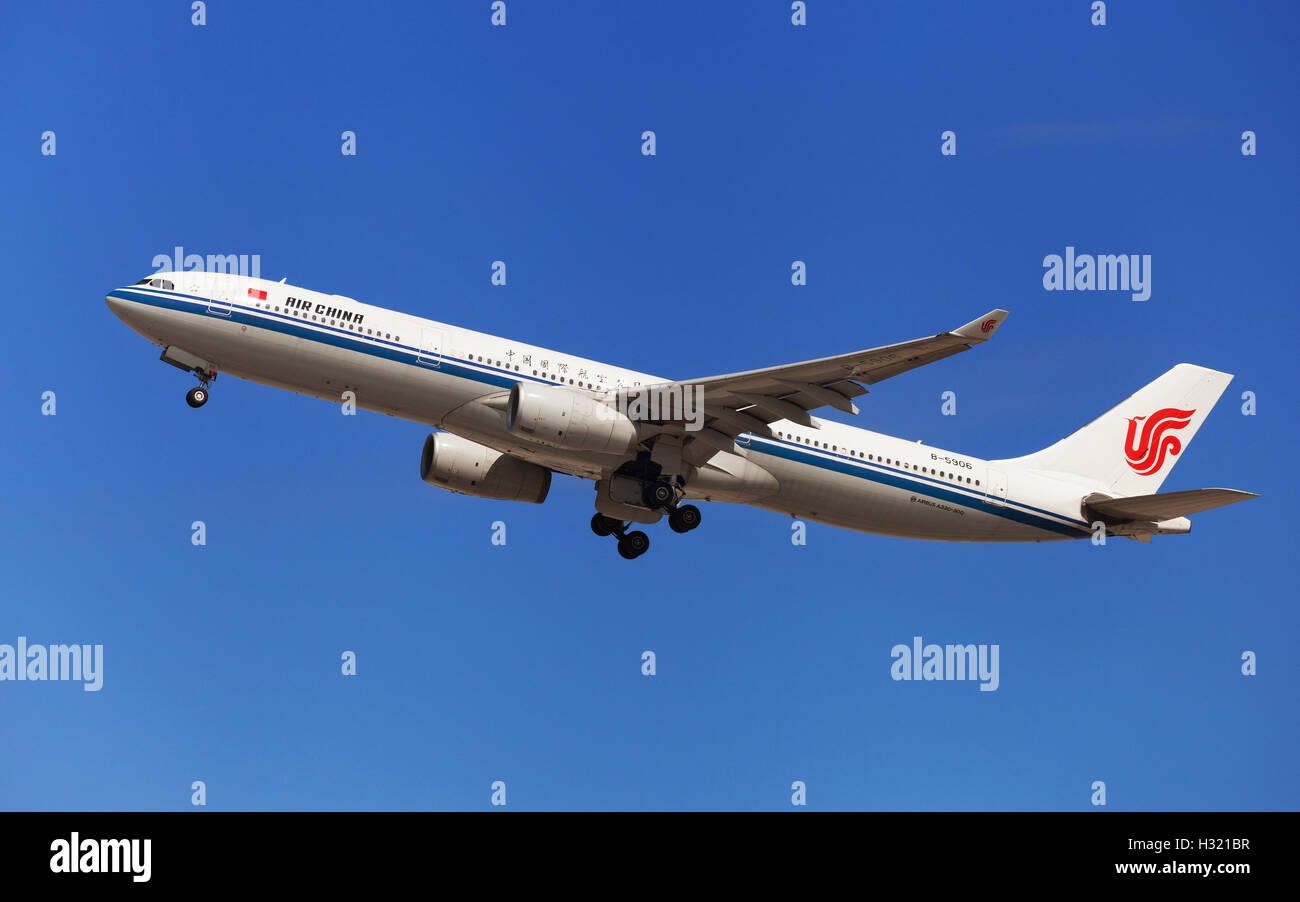 Air China Airbus A330-300 taking off from El Prat Airport in Barcelona, Spain. - Stock Image