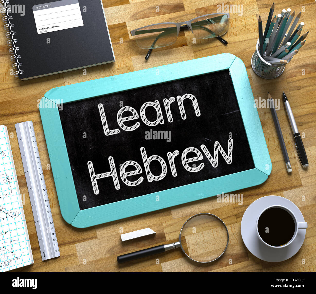 Learn Hebrew Concept on Small Chalkboard. 3D - Stock Image