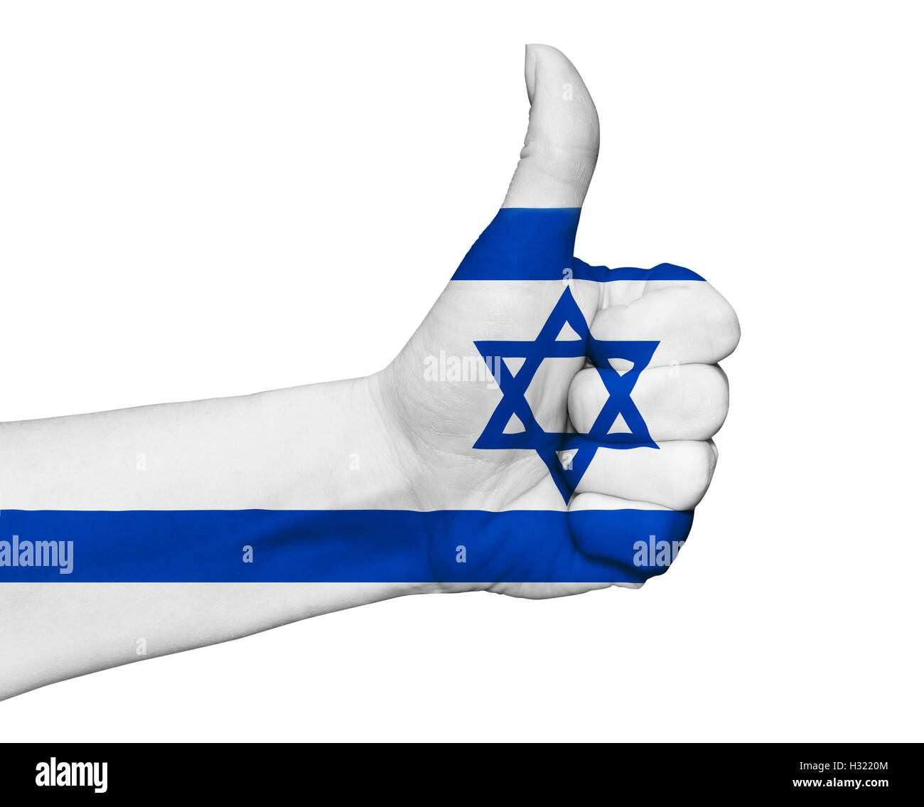 Hand with thumb up painted in colors of Israel flag isolated - Stock Image
