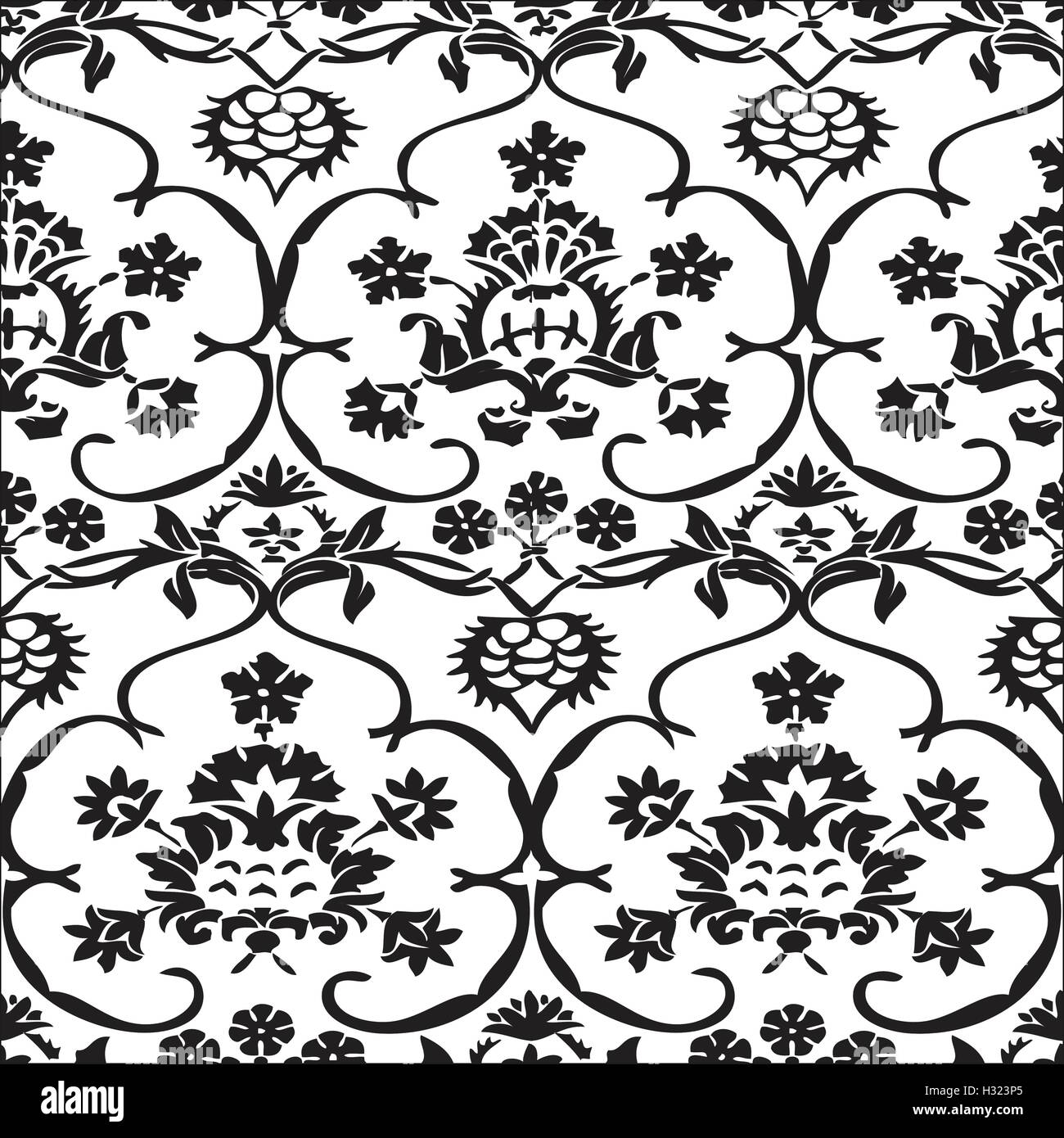 Vector Seamless Floral Pattern Vintage Background Black And White