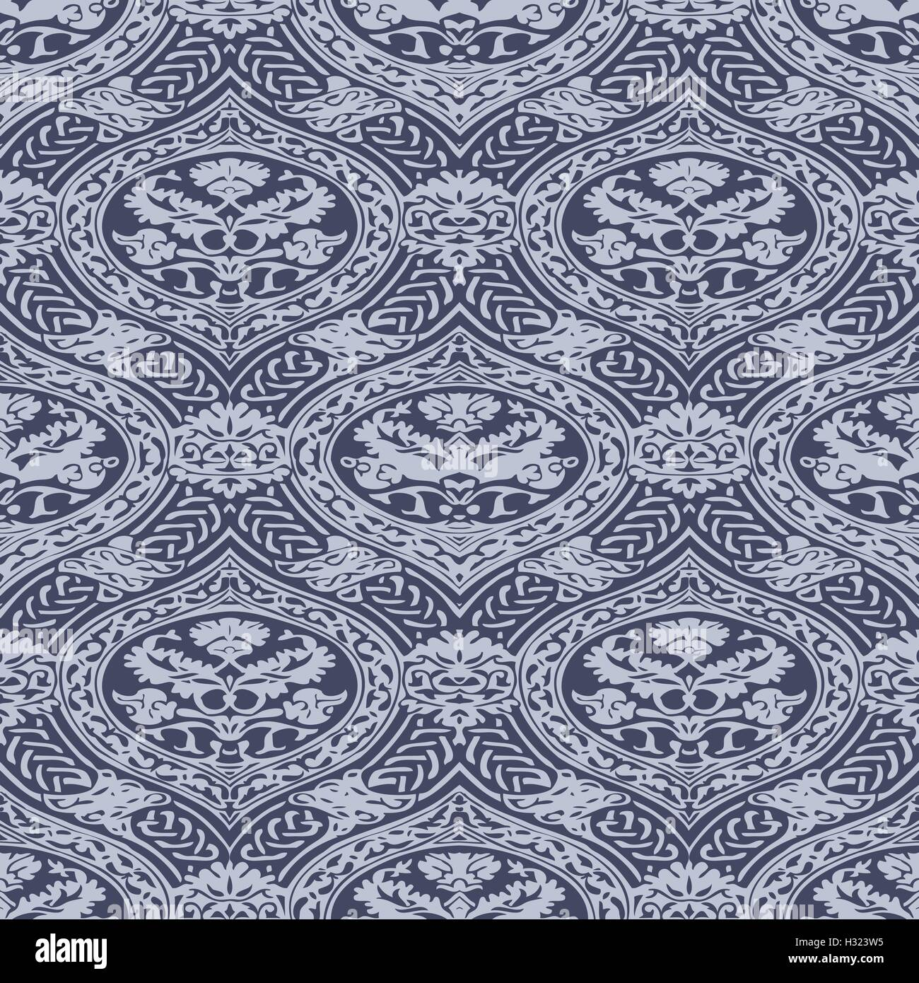 Vector seamless floral antique pattern with interlacing ribbons background - Stock Vector