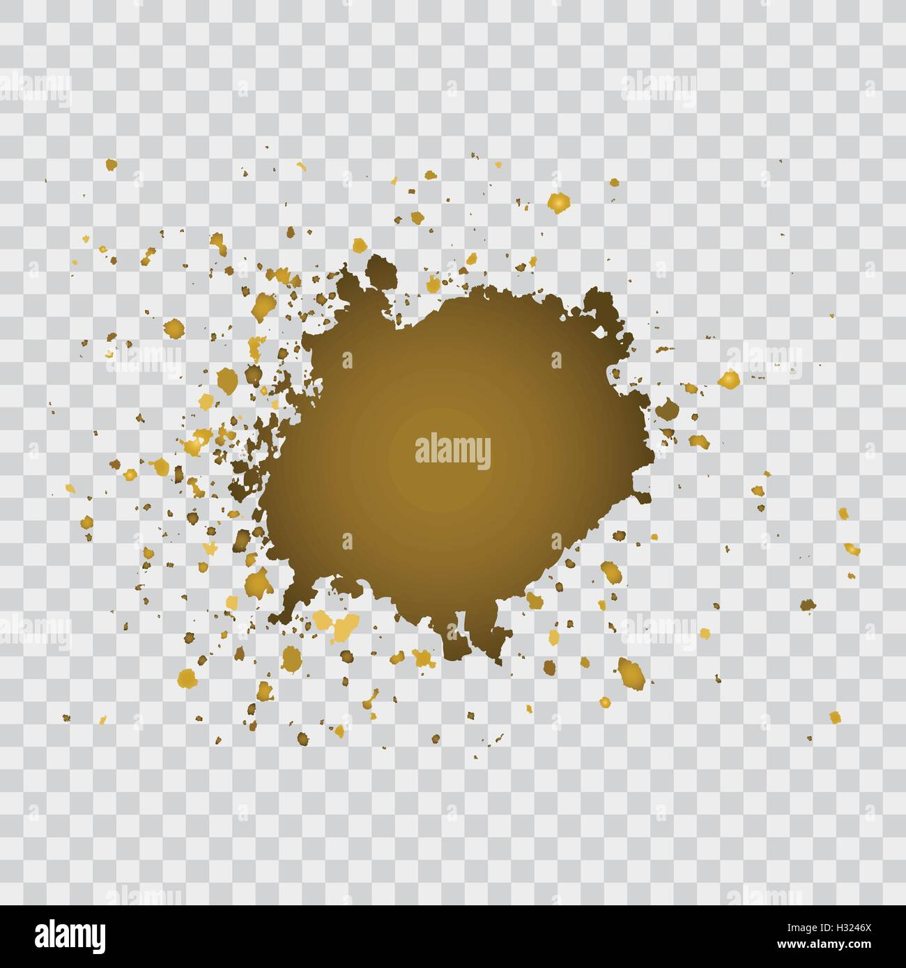 Gold Brush Paint Stroke With Rough Edges On Transparent Gray Background Splash Abstract Frame Vector Illustration