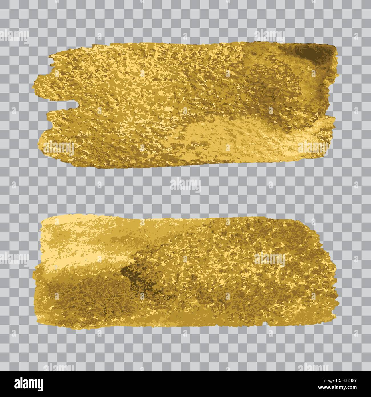 vector gold paint smear stroke stain set on transparent gray stock