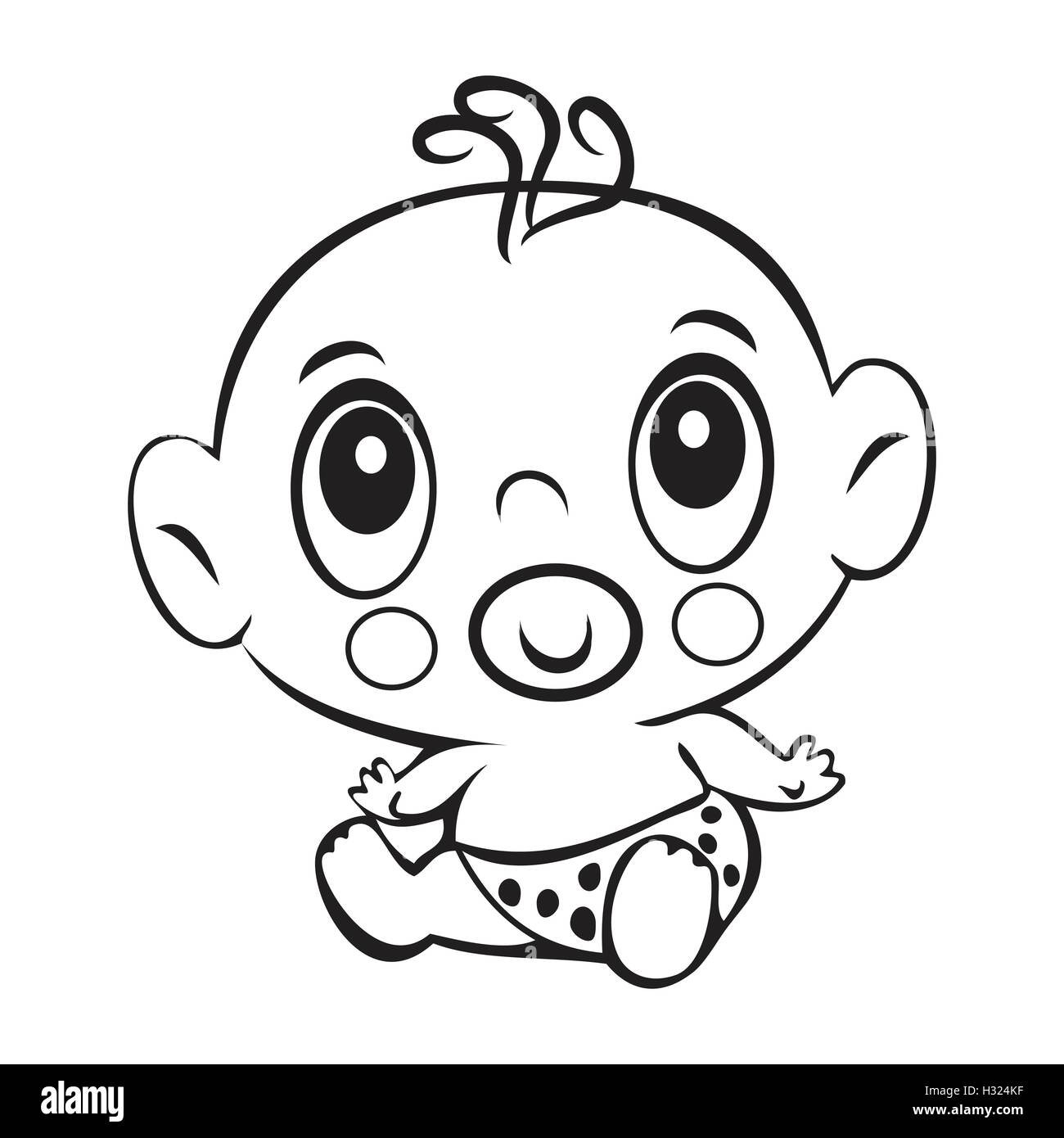 Funny baby boy. Cute baby boy sitting in a diaper isolated for coloring book. Design for children's books. T - Stock Vector