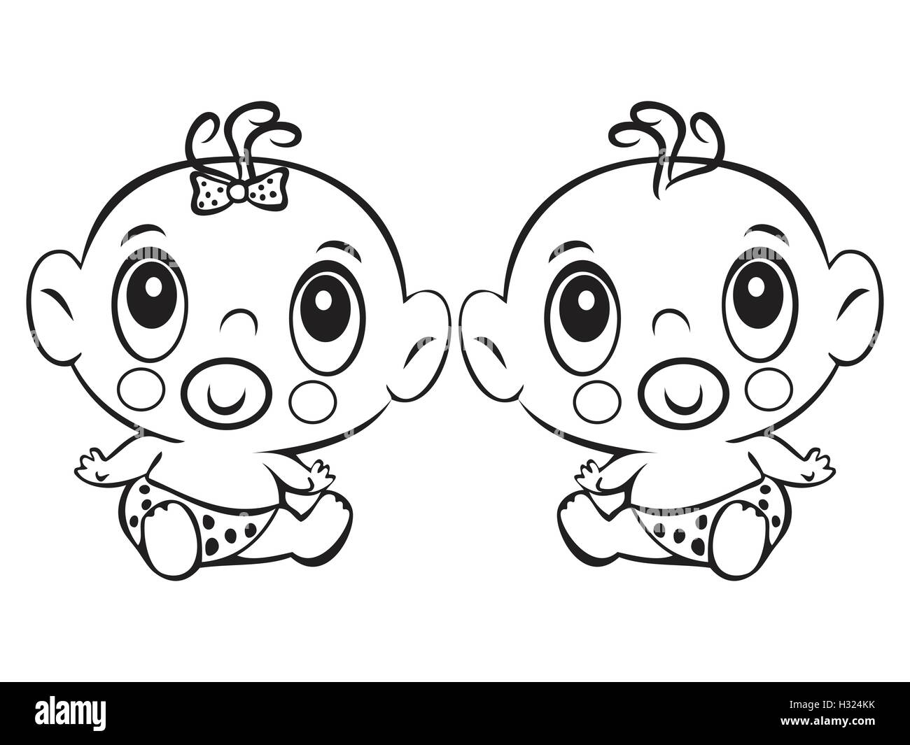 Two Funny baby sitting. Cute baby boy and girl sitting in a diaper isolated for coloring book. Design for children's - Stock Vector