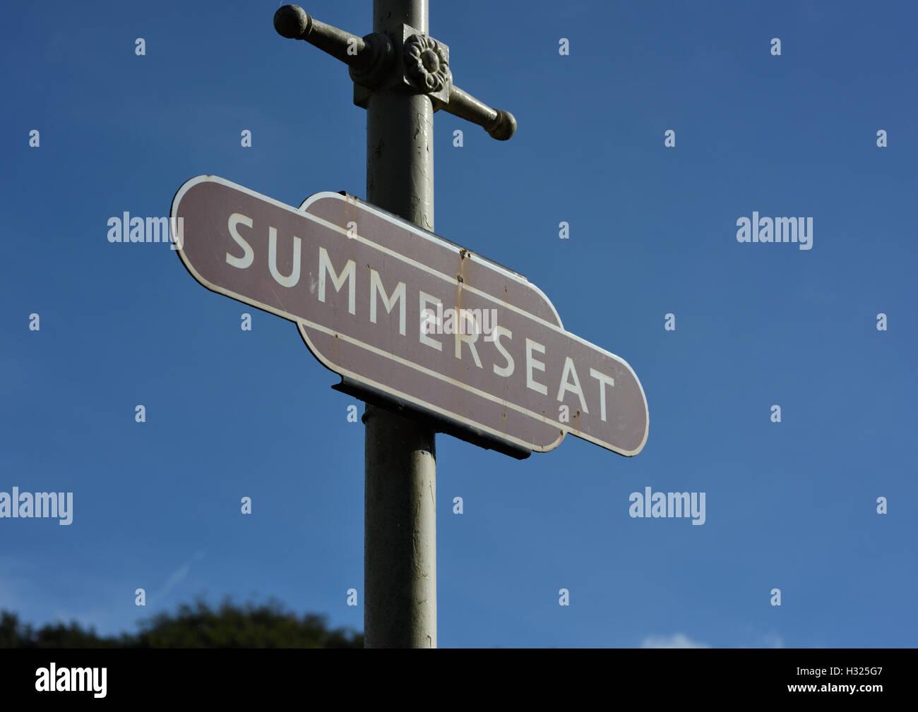 Trackside railway sign on cast iron post at summerseat, east lancashire railway Stock Photo