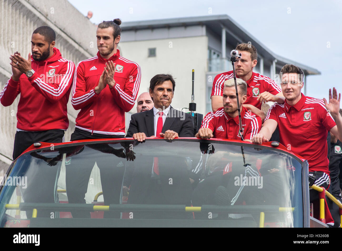 The Welsh Football team travel by open top bus through Cardiff following their success at the 2016 Euro's in - Stock Image