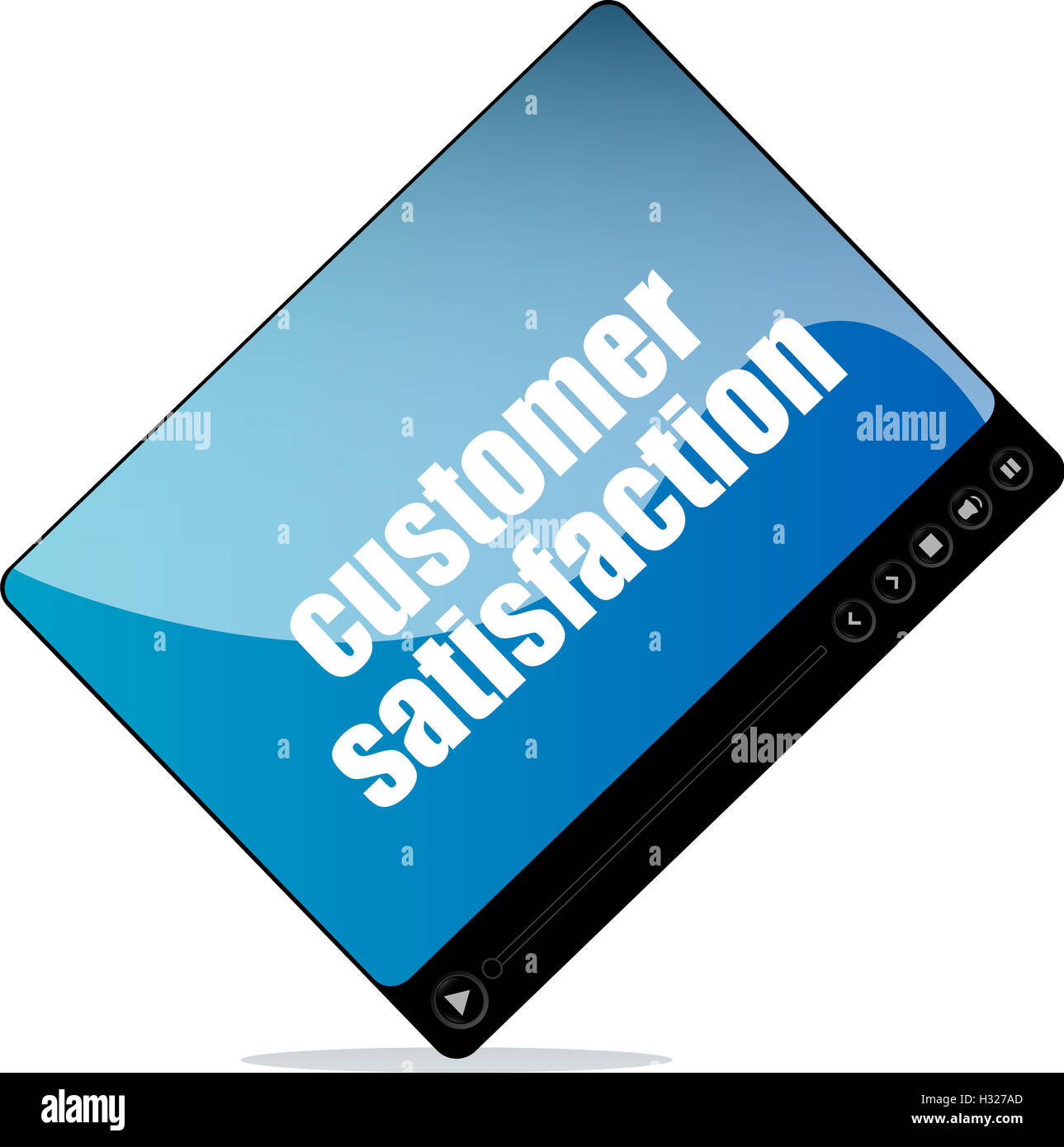 Video player for web with customer satisfaction word - Stock Image