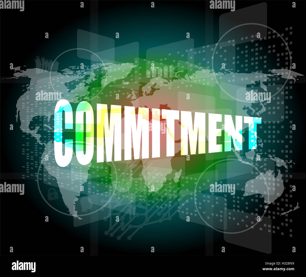 business concept: word commitment on digital touch screen - Stock Image