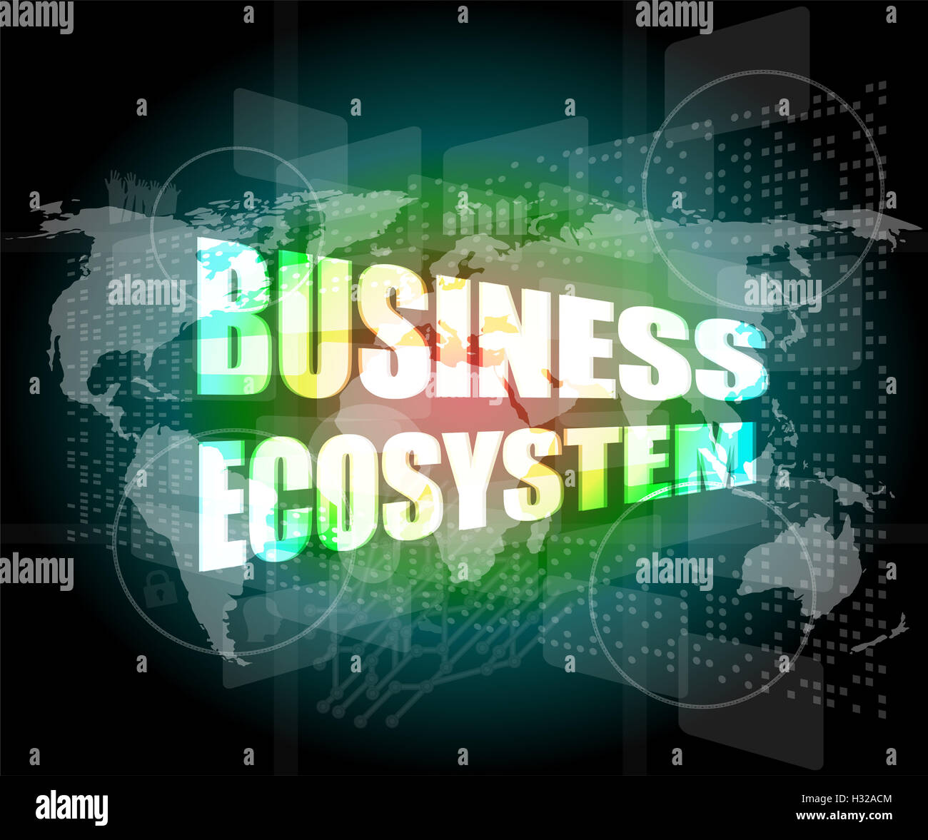 business ecosystem words on digital touch screen - Stock Image